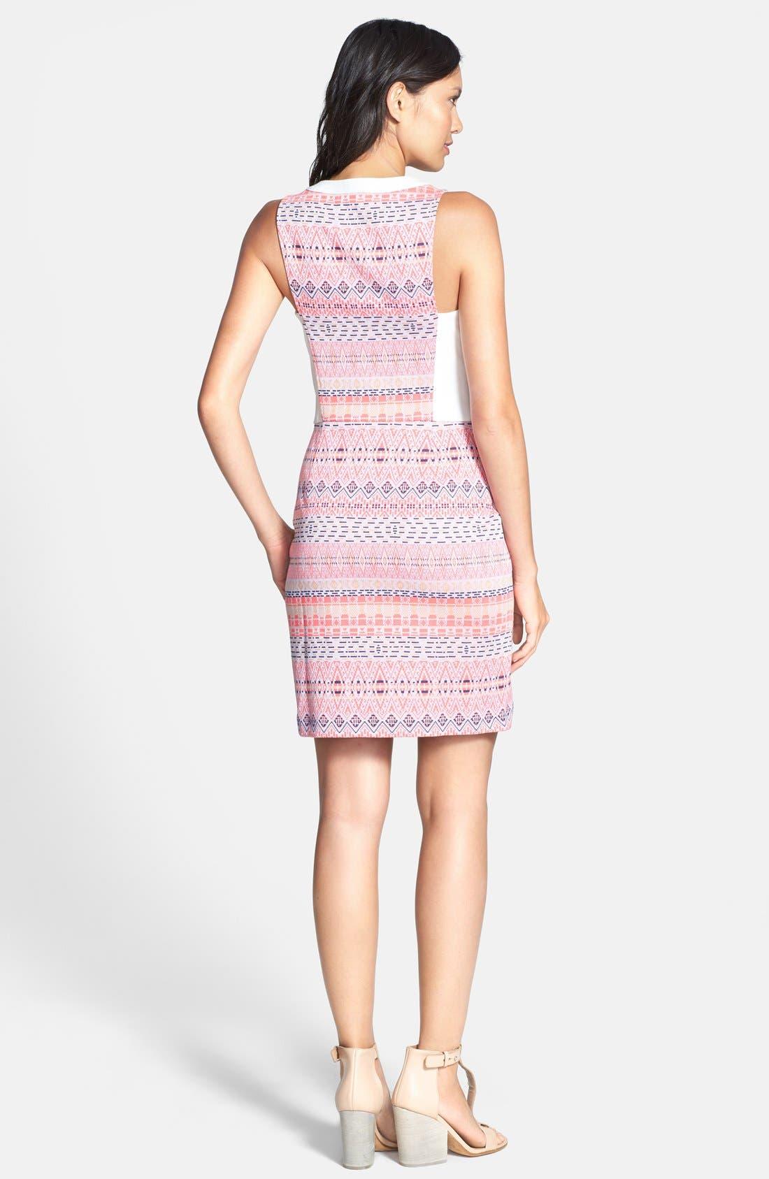 Alternate Image 2  - Ella Moss 'Paz' Print Front Zip Sheath Dress