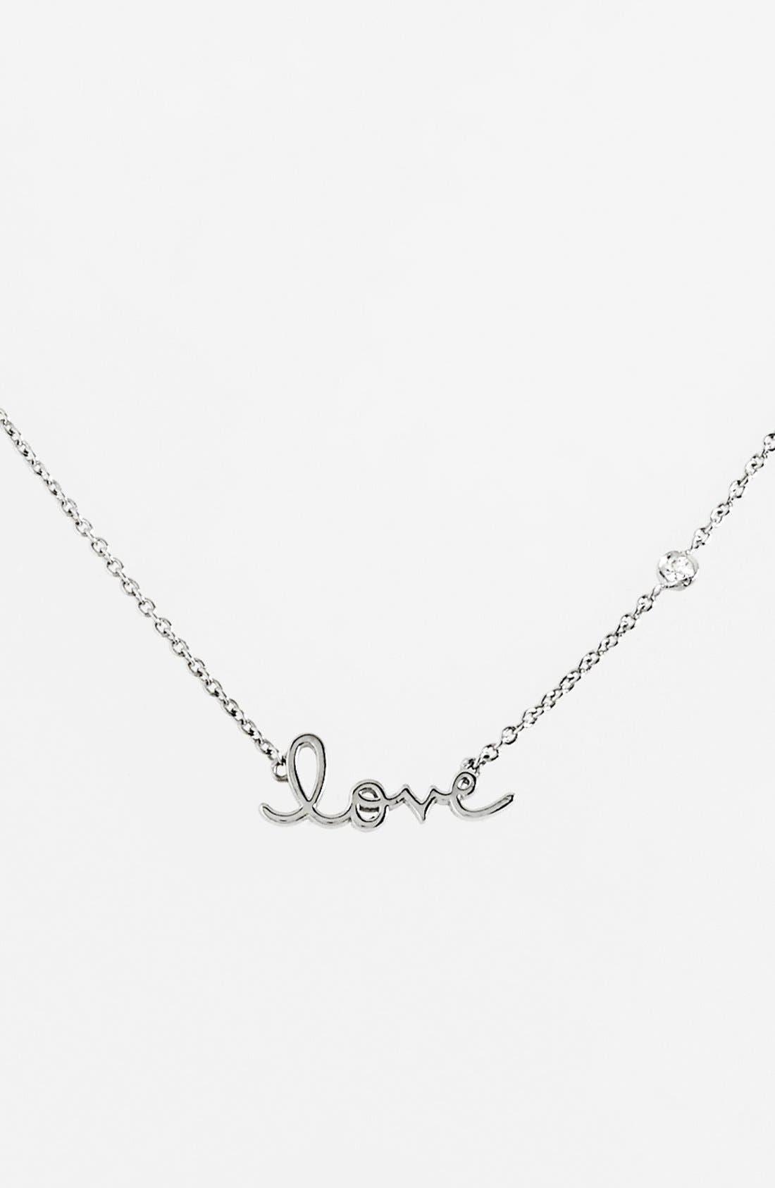 'Love' Necklace,                             Main thumbnail 1, color,                             Silver
