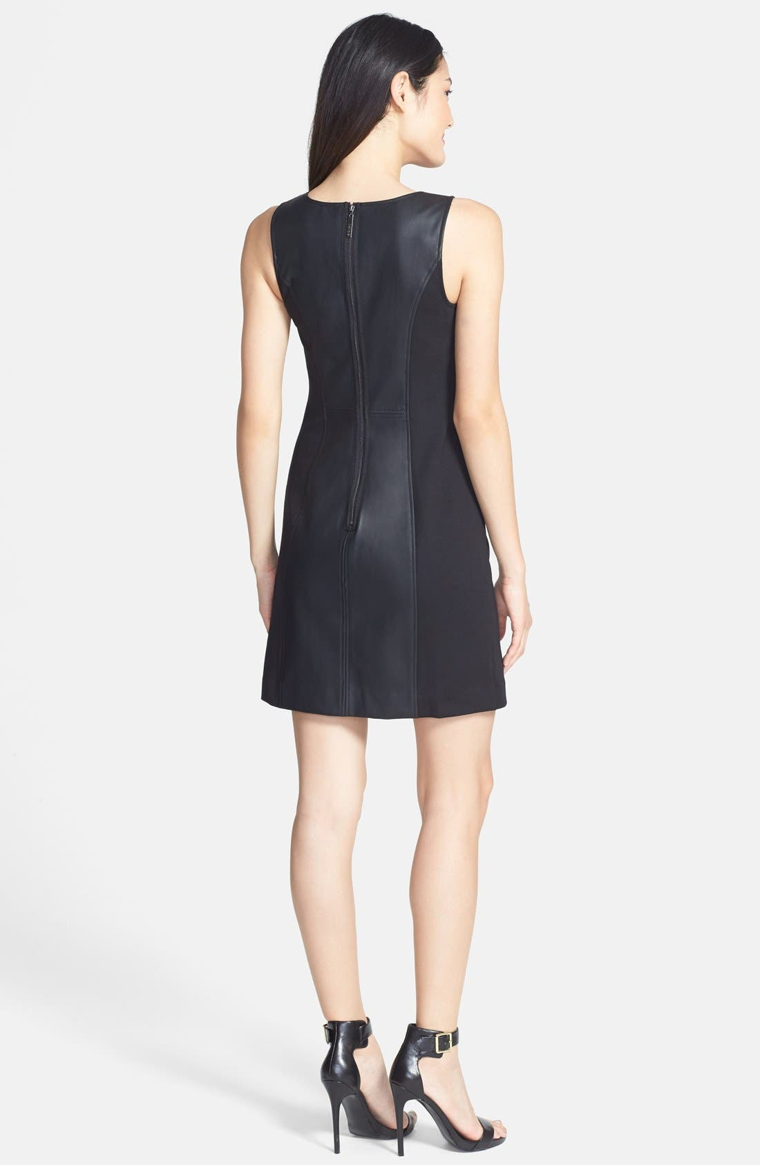 Alternate Image 2  - kensie Faux Leather Mixed Media Dress (Online Only)