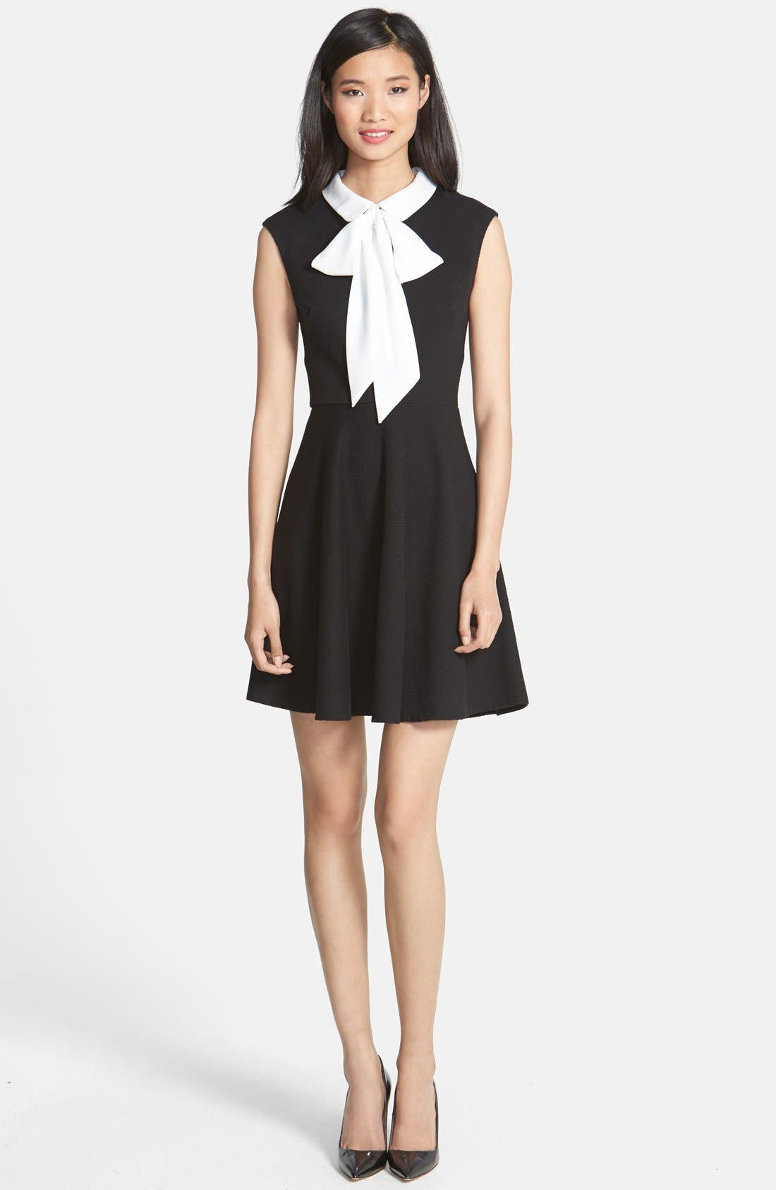 Alternate Image 3  - Betsey Johnson Bow Collar Stretch Jacquard Fit & Flare Dress