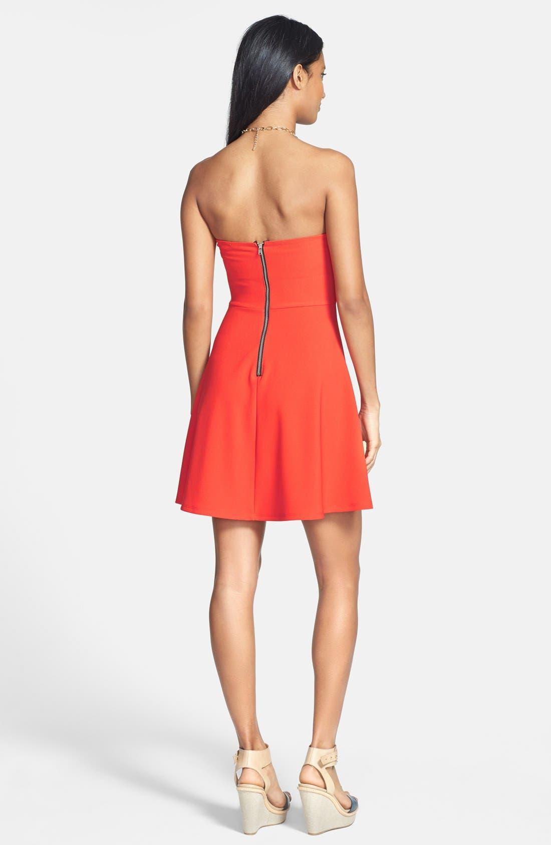 Alternate Image 2  - Lush Strapless Bustier Stretch Knit Dress (Juniors)