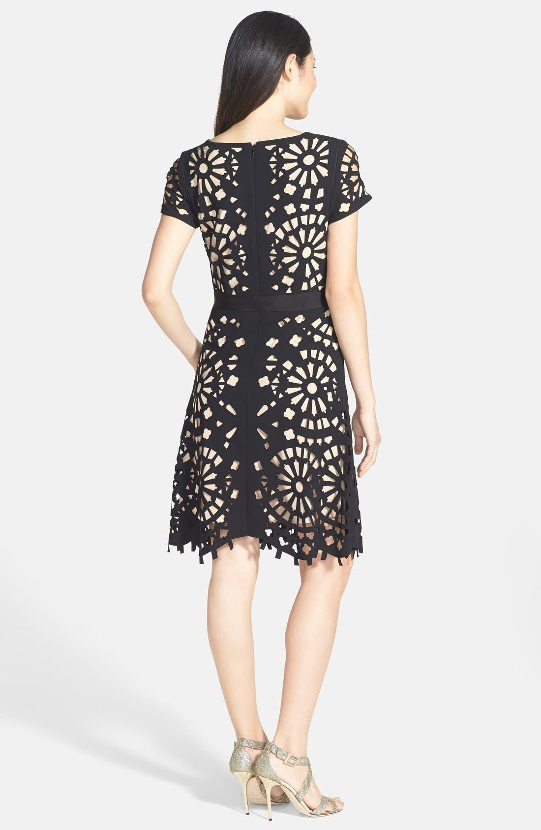 Alternate Image 2  - Nue by Shani Laser Cut Crepe Fit & Flare Dress