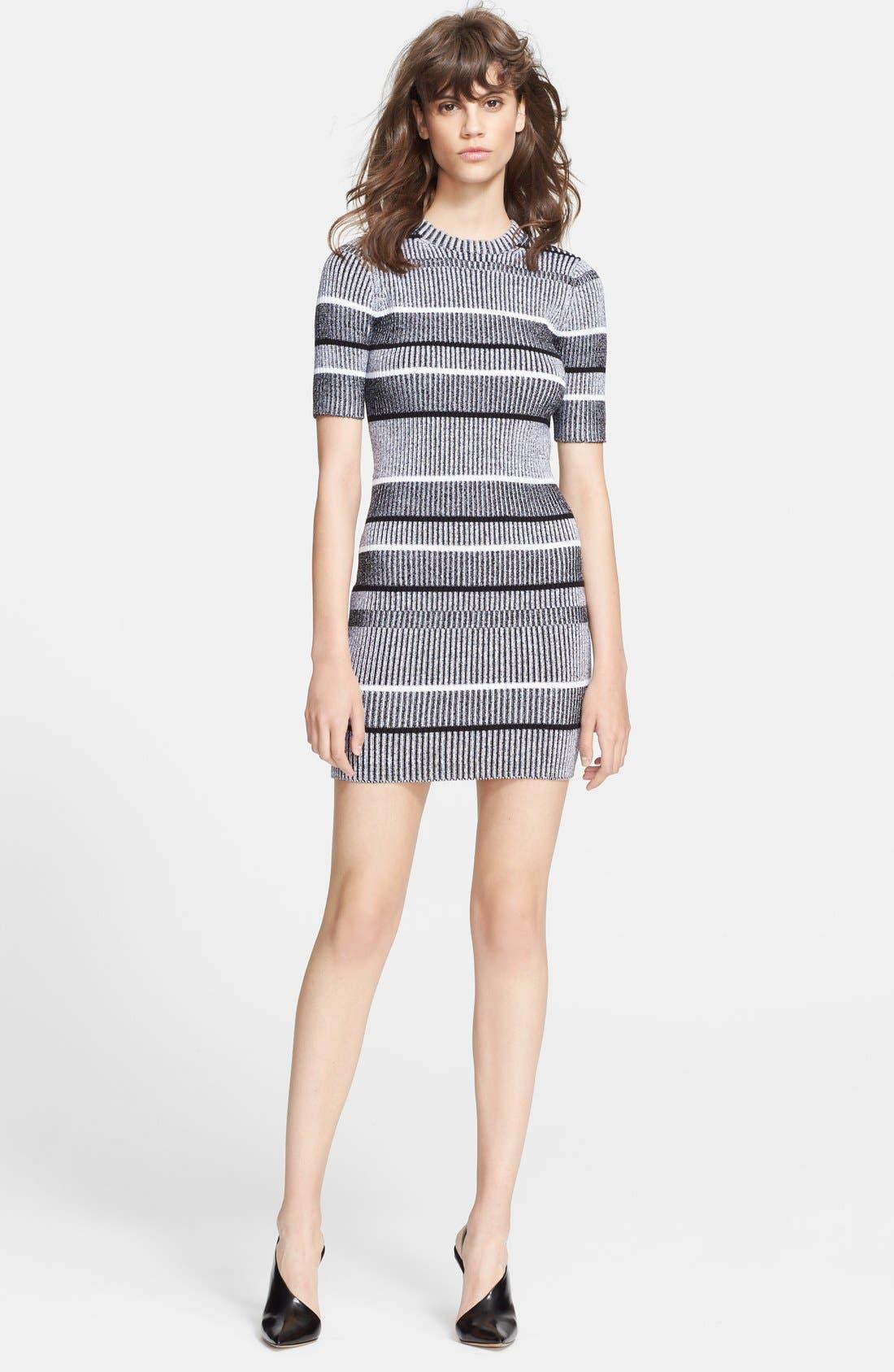 Alternate Image 1 Selected - Alexander Wang Stripe Rib Knit Sweater Dress