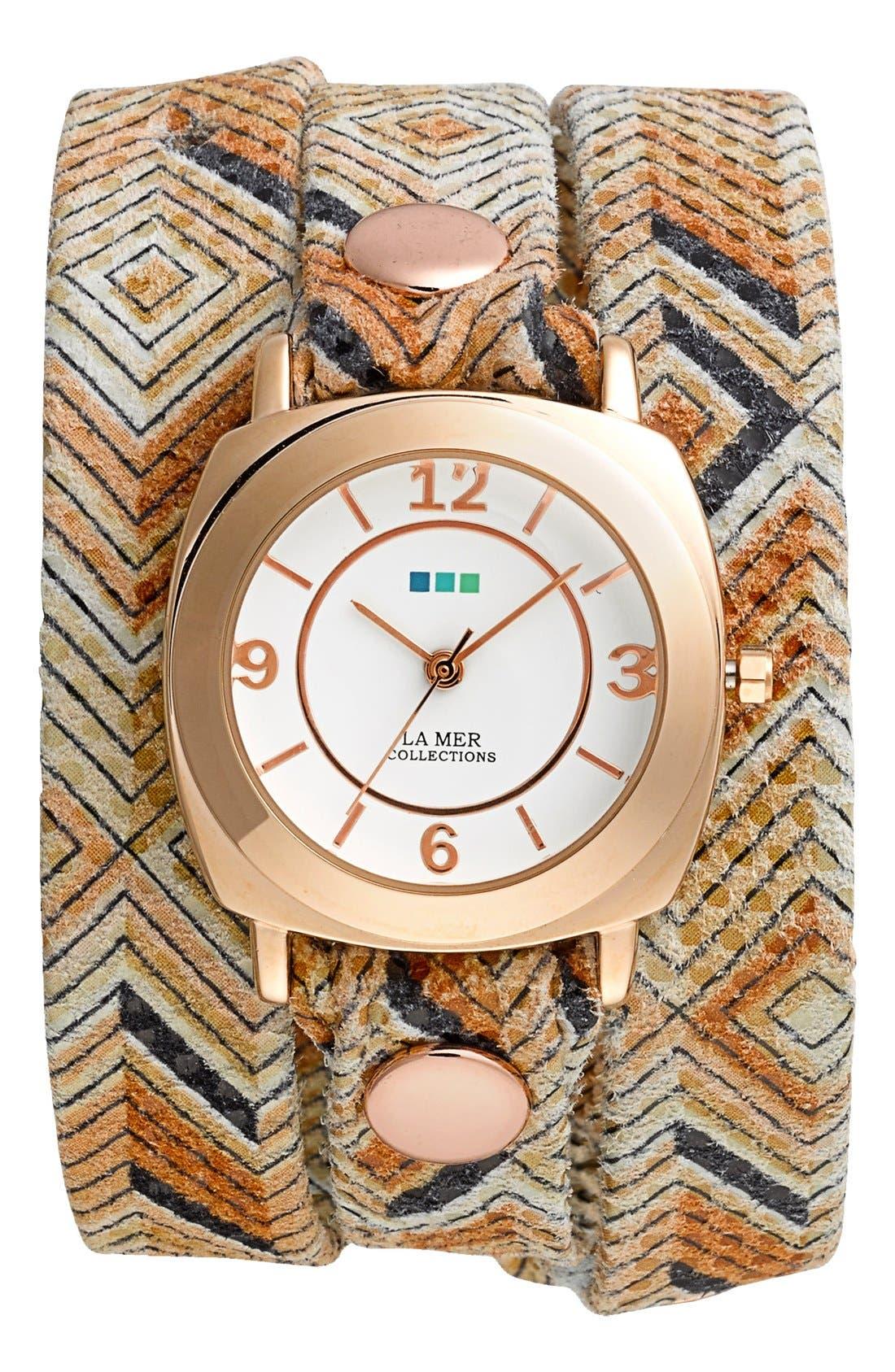 Main Image - La Mer Collections 'Paris Odyssey' Print Leather Wrap Bracelet Watch, 30mm