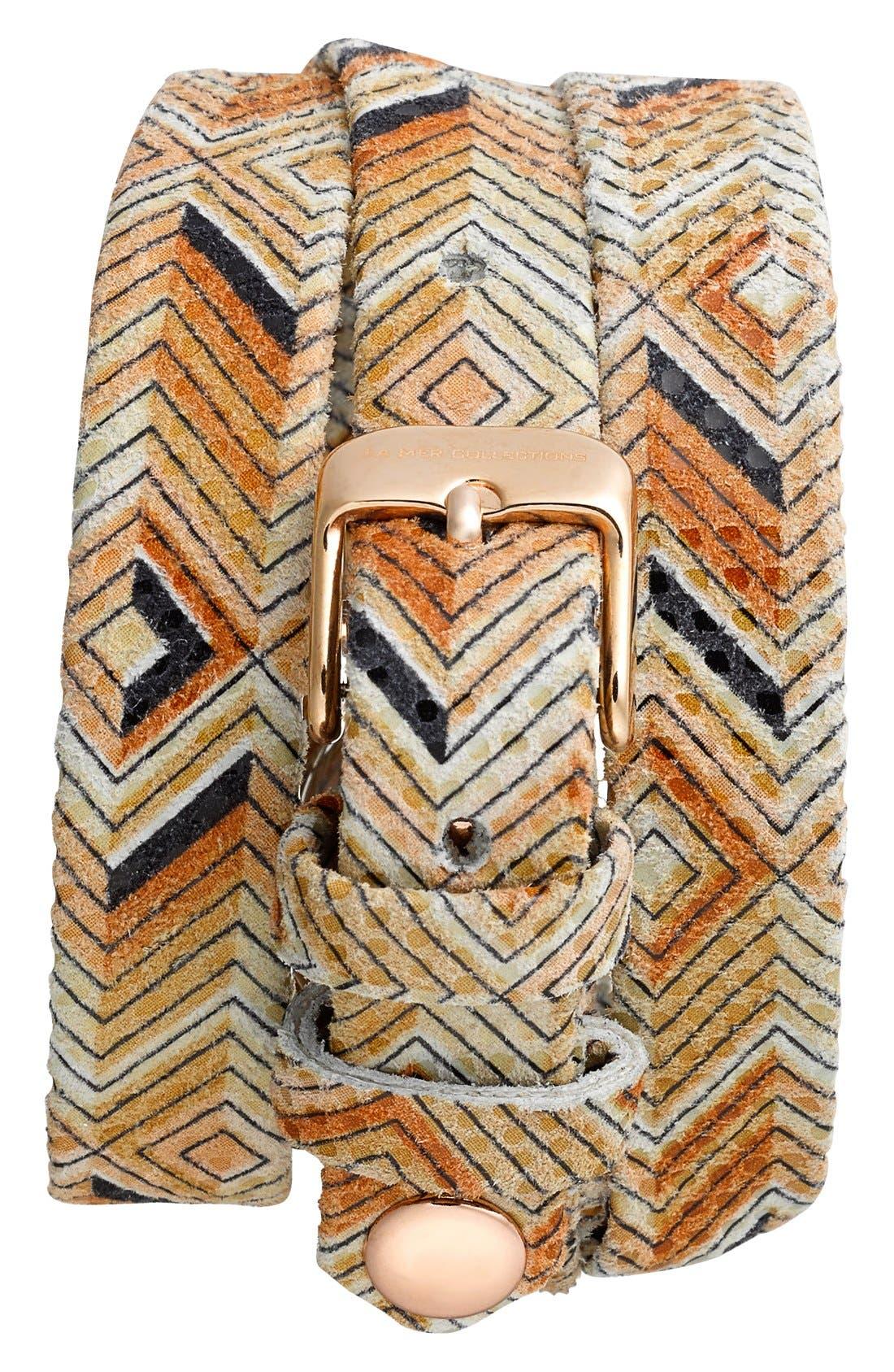 Alternate Image 2  - La Mer Collections 'Paris Odyssey' Print Leather Wrap Bracelet Watch, 30mm