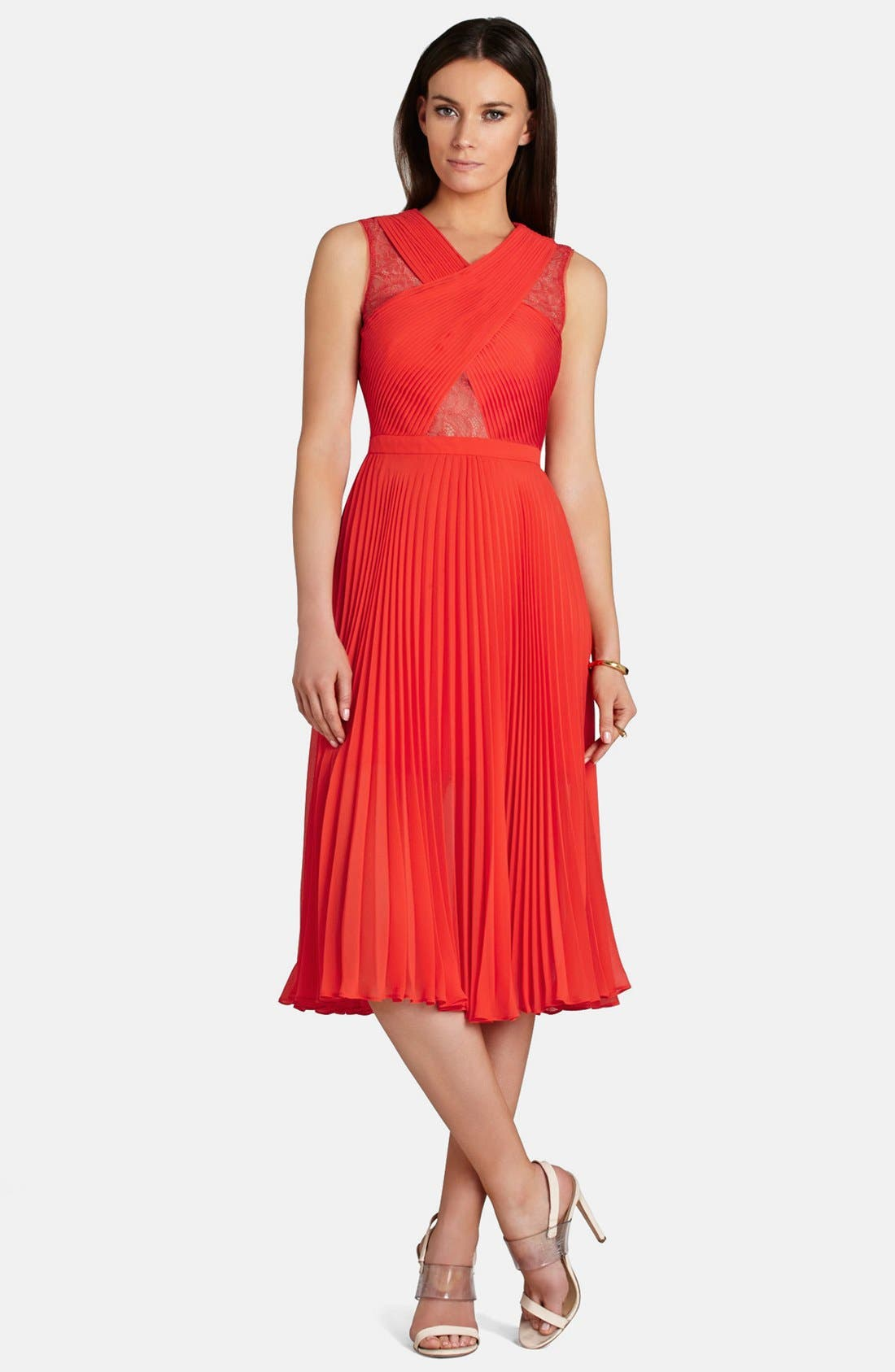 Alternate Image 1 Selected - BCBGMAXAZRIA 'Abbie' Pleated Georgette A-Line Dress
