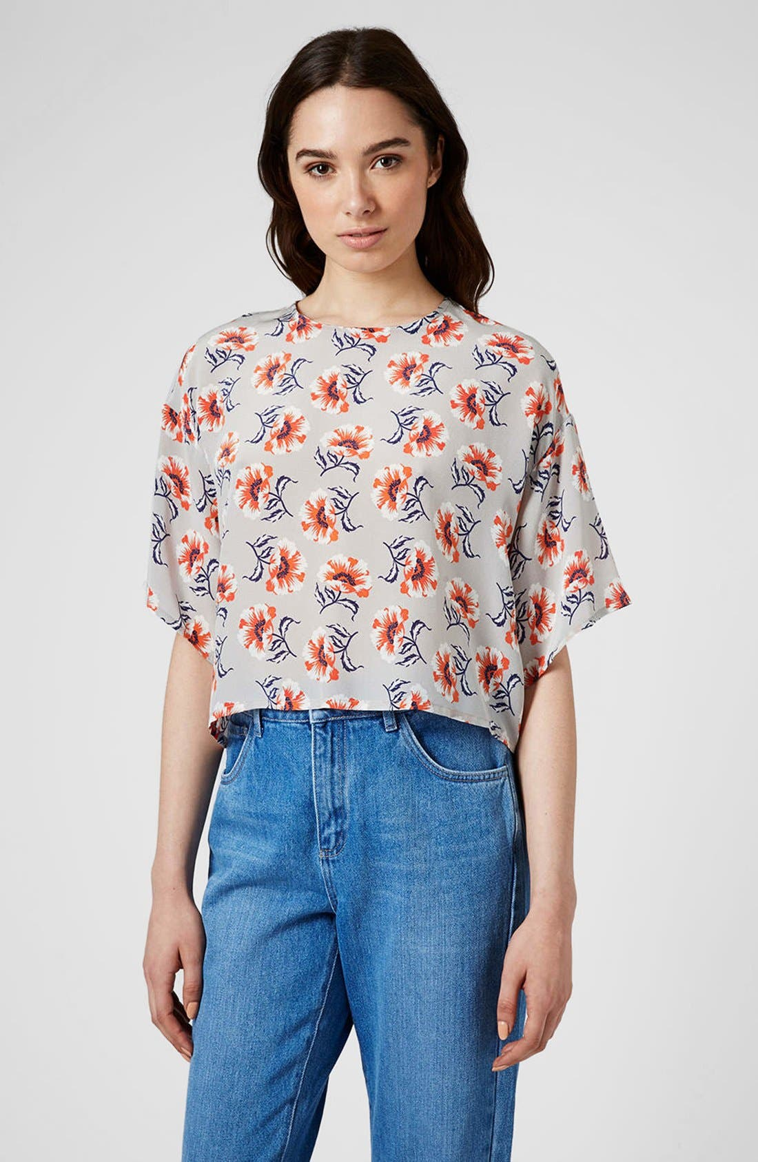 Main Image - Topshop Boutique Floral Print Silk Top