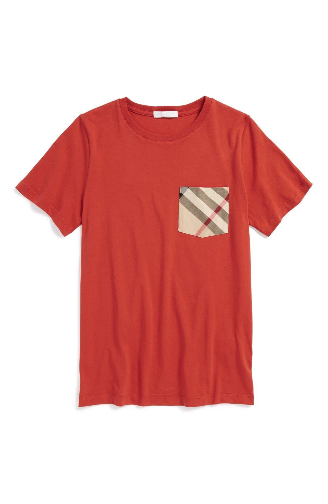 Main Image - Burberry Check Print Chest Pocket T-Shirt (Little Boys & Big Boys)