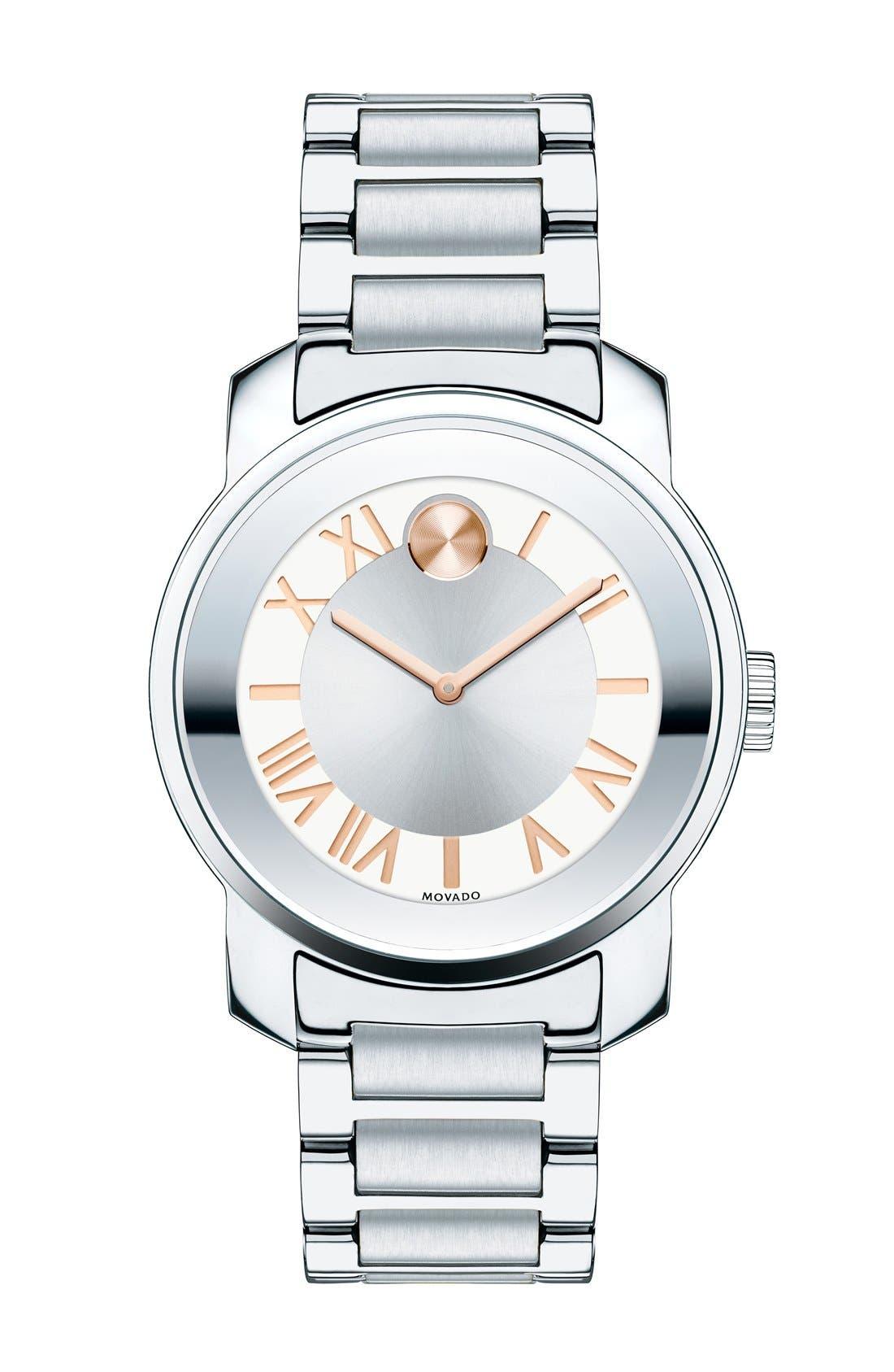 'Bold' Bracelet Watch, 32mm,                         Main,                         color, Silver/ Rose Gold