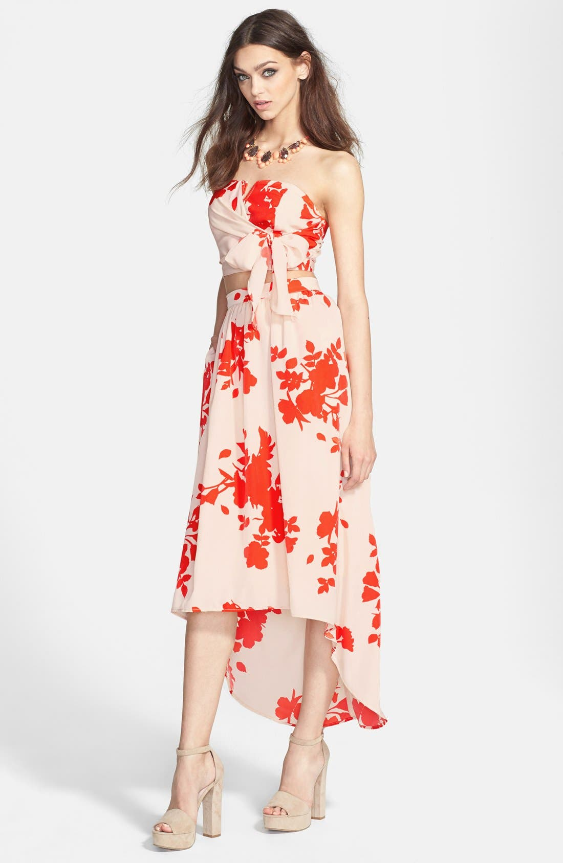 Alternate Image 4  - Rules of Etiquette Floral Print High/Low Tulle Midi Skirt