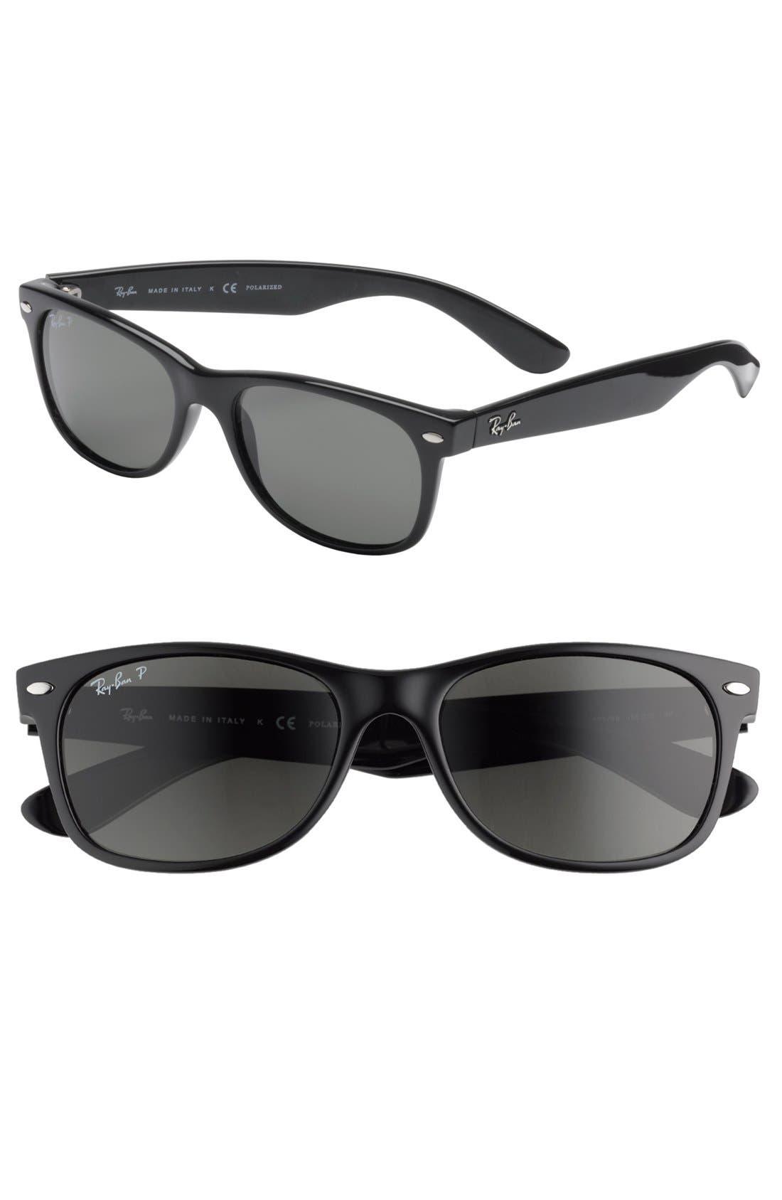 'New Wayfarer' 55mm Polarized Sunglasses,                         Main,                         color, Black/ Green P