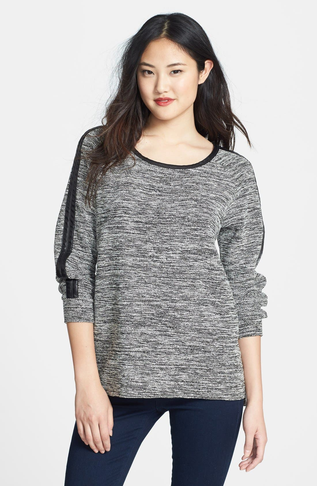 Main Image - Two by Vince Camuto Faux Leather Trim Sweatshirt