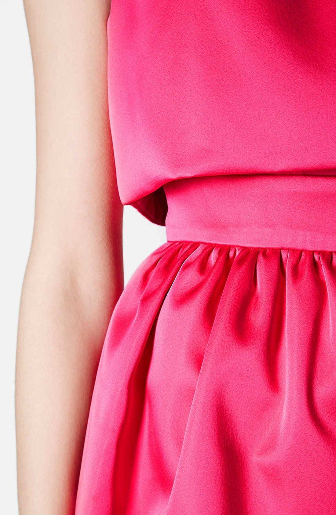 'Duchess' Crop Overlay Satin Skater Dress,                             Alternate thumbnail 4, color,                             Pink