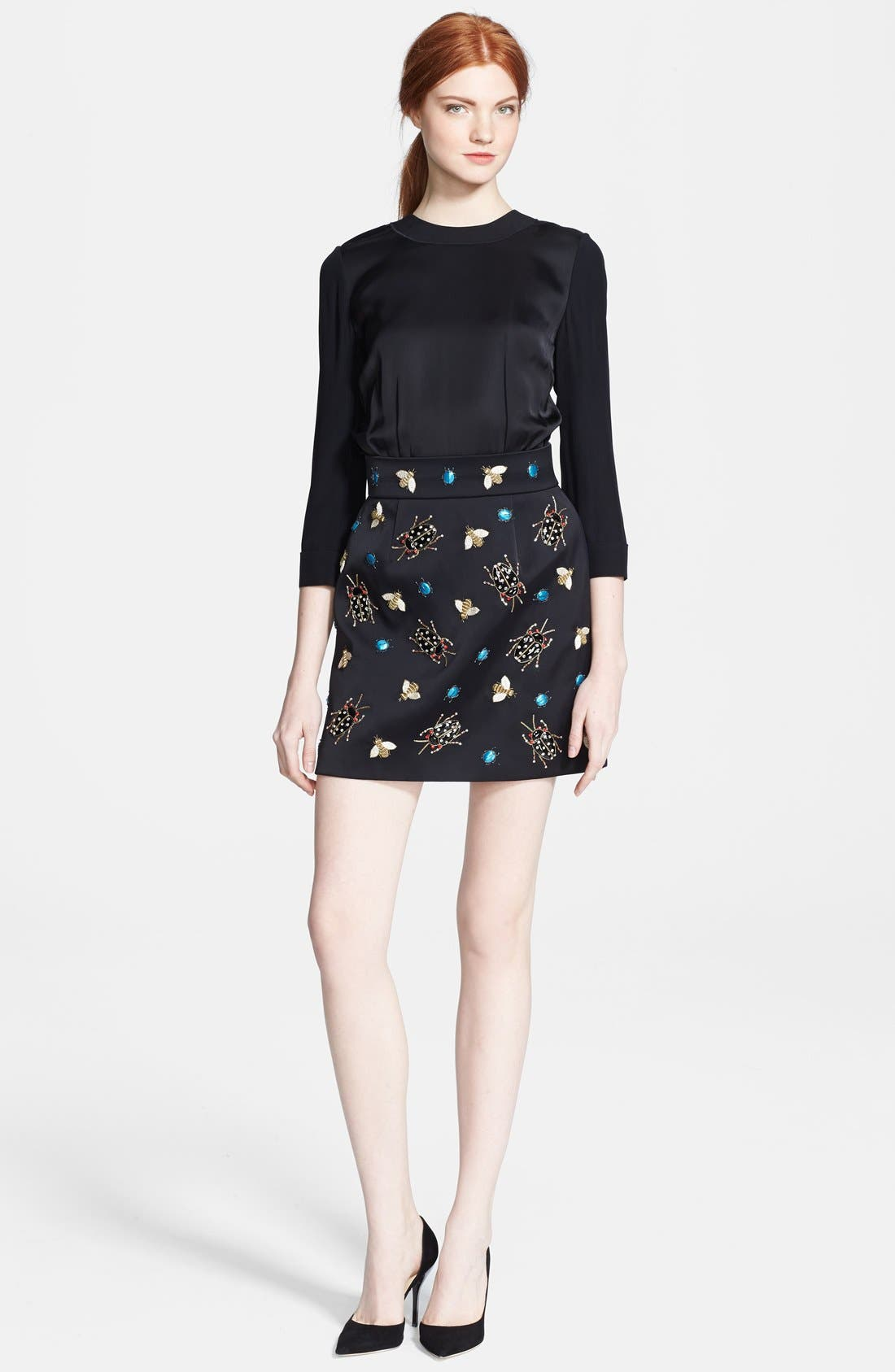 Main Image - Victoria, Victoria Beckham Embellished Satin Dress