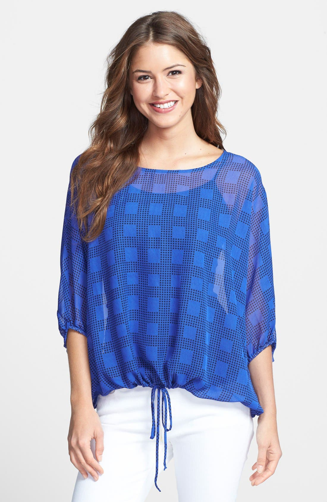 Alternate Image 1 Selected - Bobeau Tie Hem Print Peasant Top