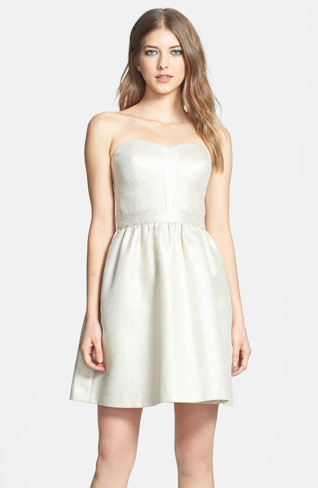 Main Image - Aidan by Aidan Mattox Strapless Shimmer Jacquard Dress