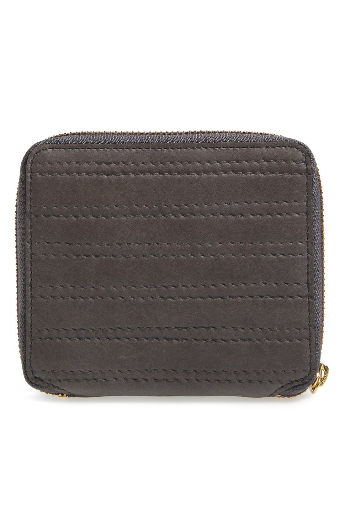 'Embossed Stitch' French Wallet,                             Alternate thumbnail 3, color,                             Grey