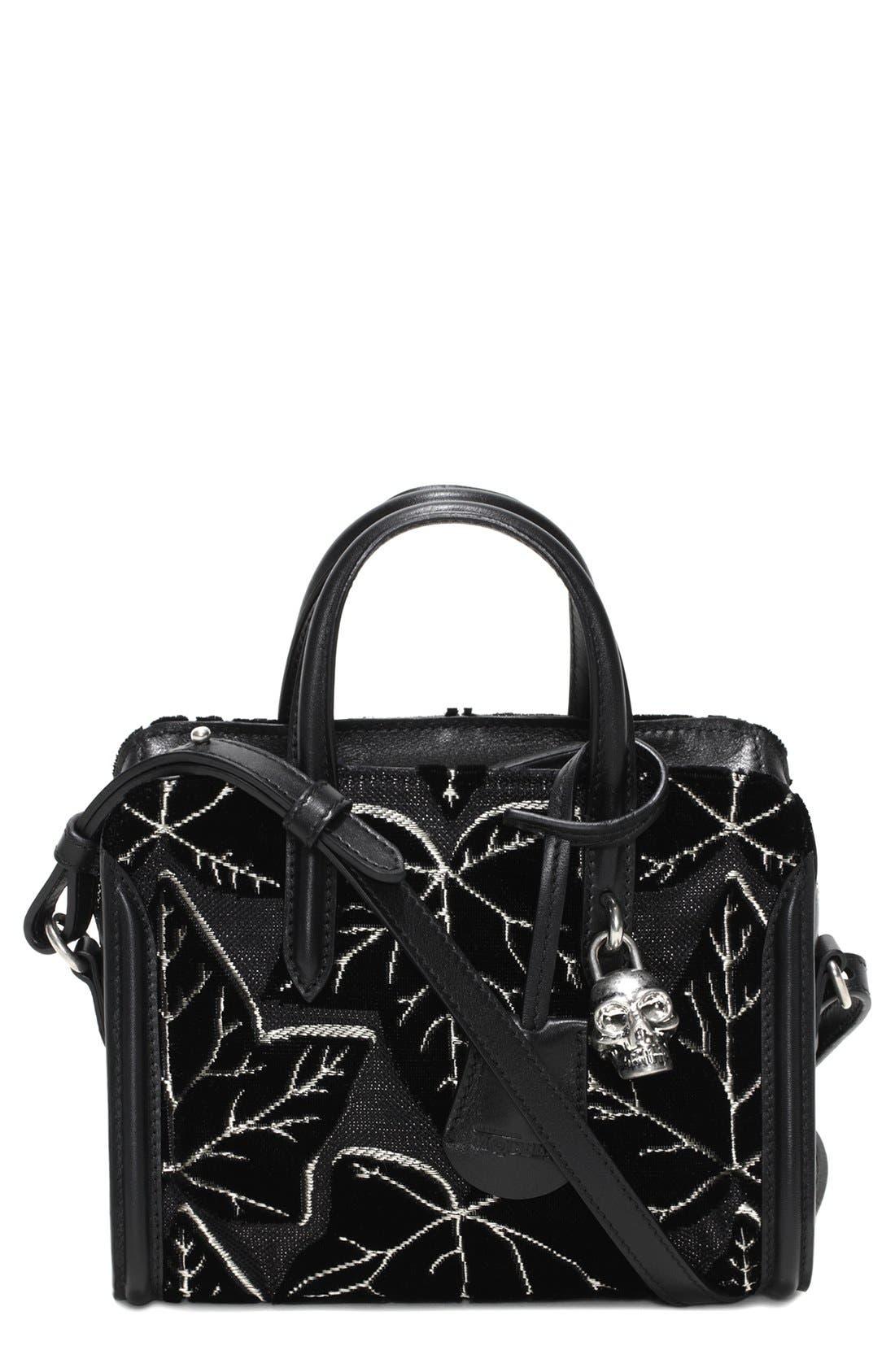 Alternate Image 1 Selected - Alexander McQueen 'Mini Padlock' Velvet Duffel Bag