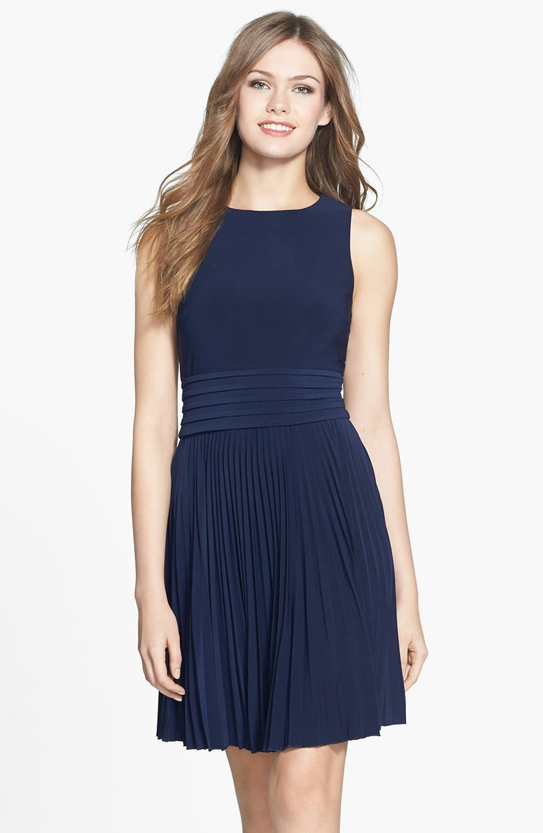 Alternate Image 1 Selected - Eliza J Pleated Stretch Woven Dress