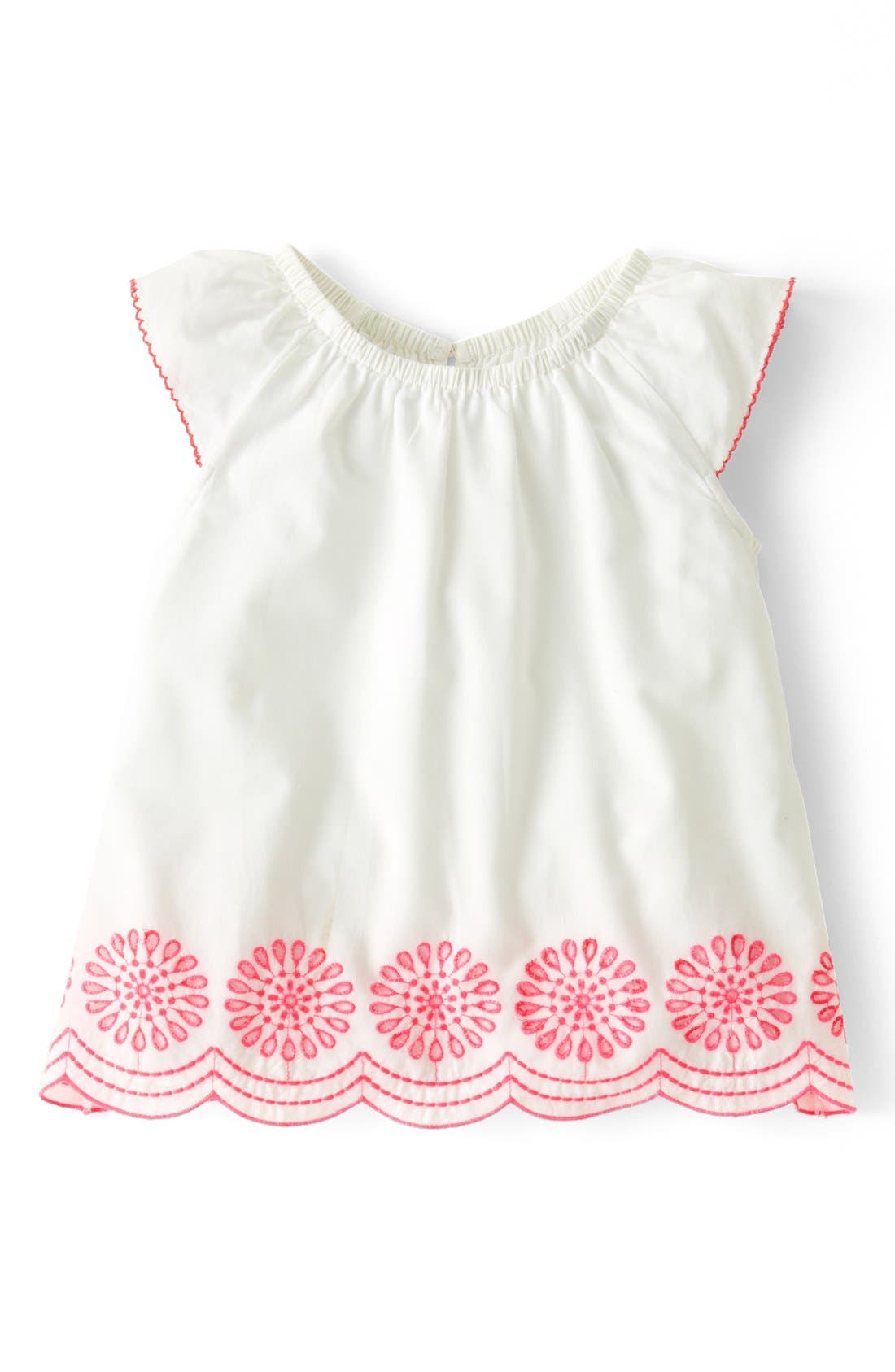 Alternate Image 1 Selected - Mini Boden 'Broderie' Cotton Cambric A-Line Top (Toddler Girls)