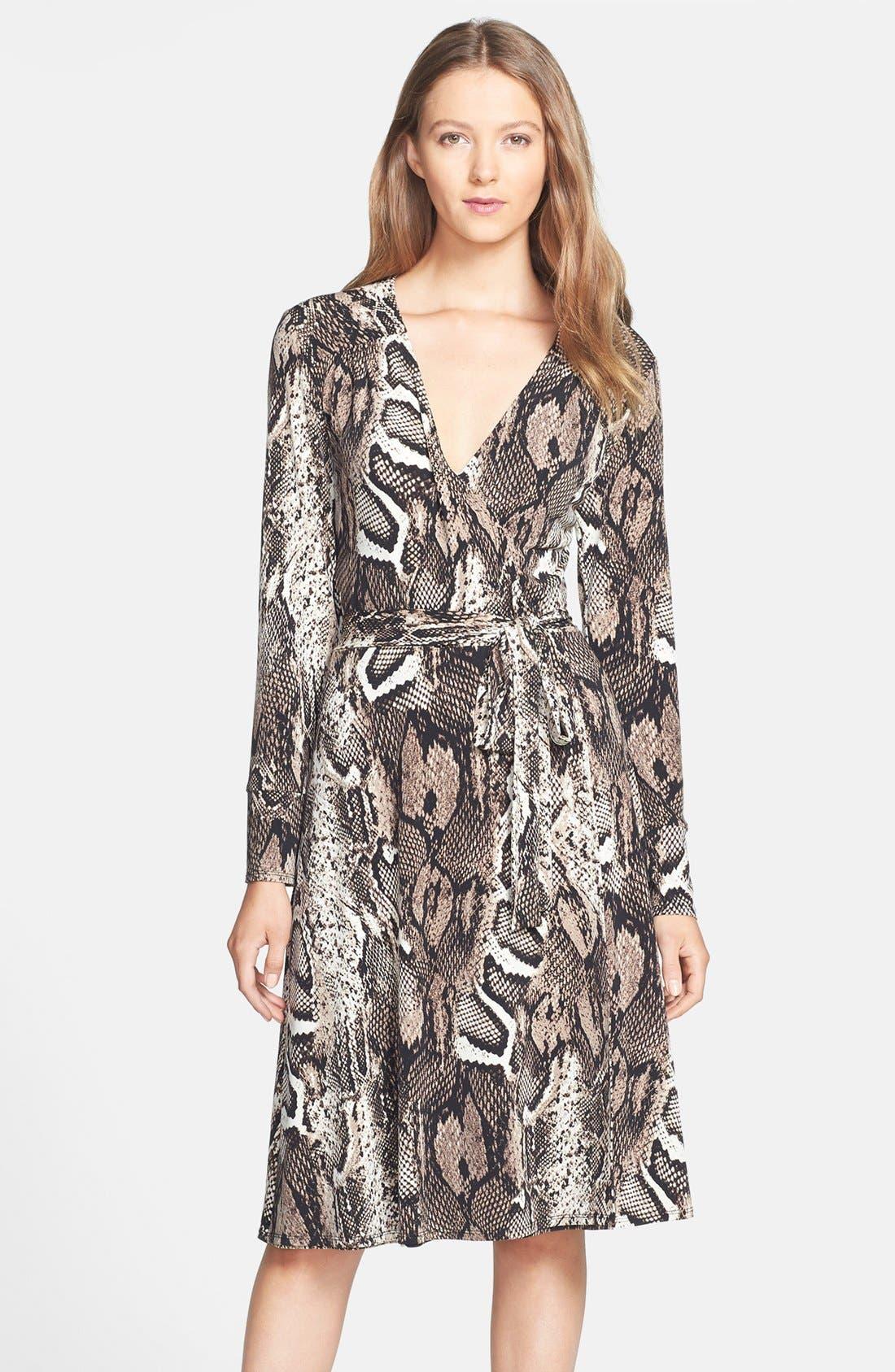 Main Image - Donna Morgan Snakeskin Print Faux Wrap Jersey Dress