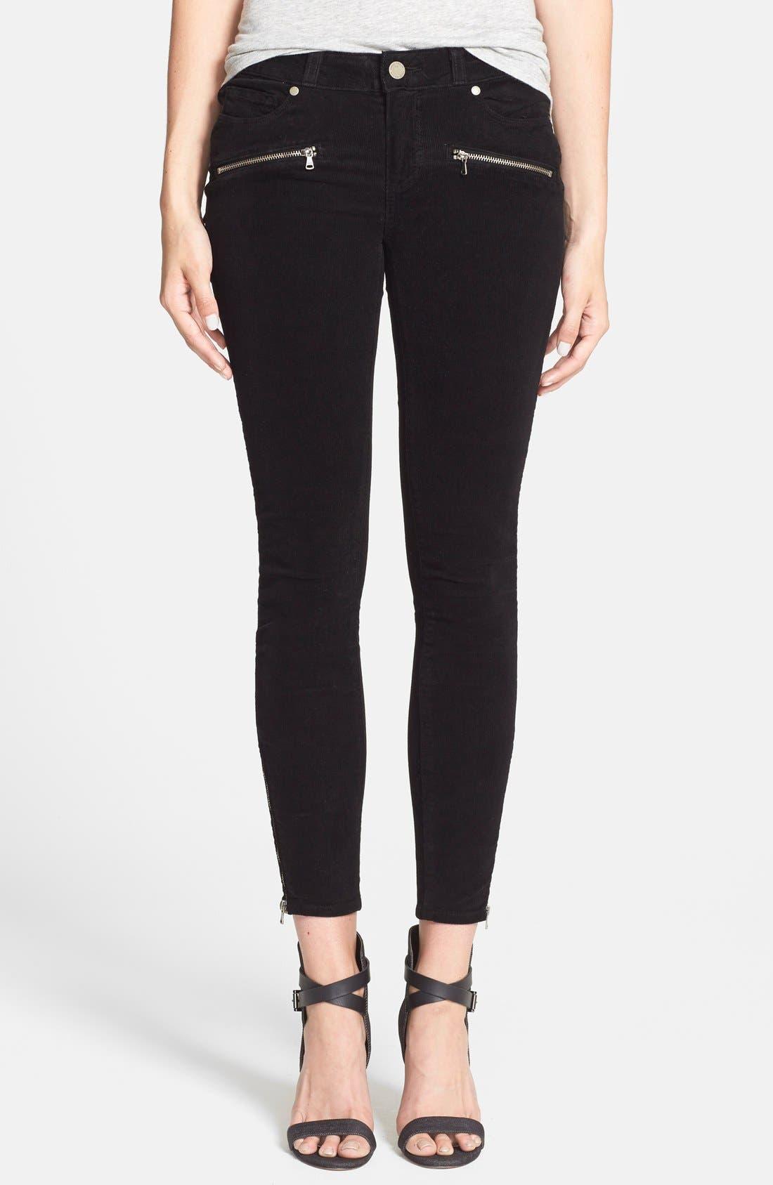 Alternate Image 1 Selected - Paige Denim 'Jane' Zip Detail Ultra Skinny Corduroy Pants