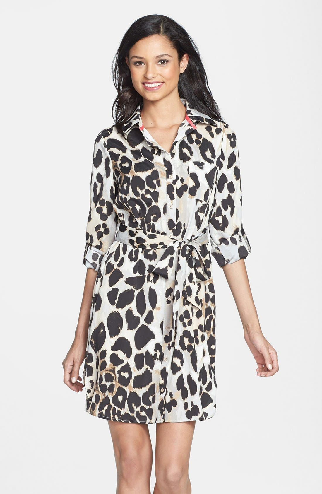 Main Image - Eliza J Print Crêpe de Chine Shirtdress (Regular & Petite)