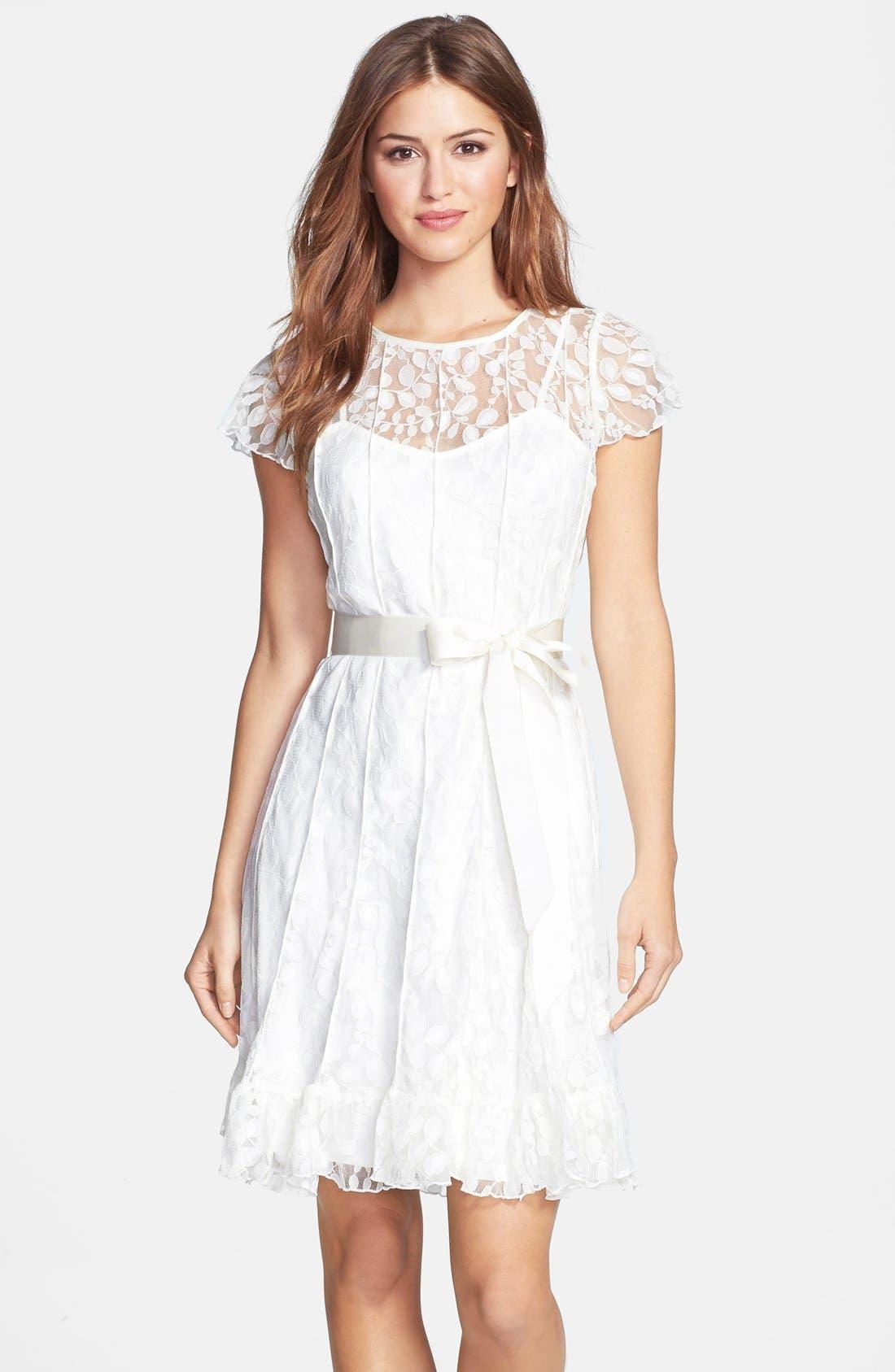 Main Image - Eliza J Pintuck Lace Dress (Petite)