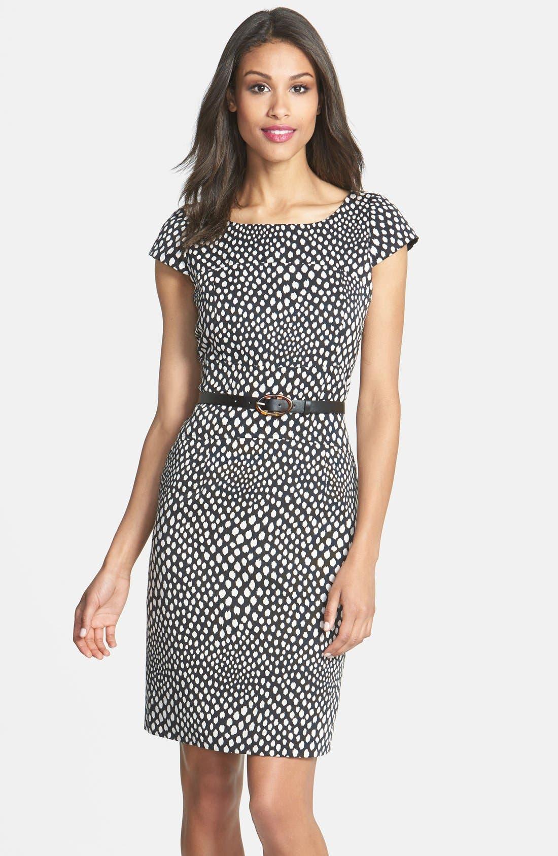 Main Image - Tahari Belted Print Sheath Dress (Petite)