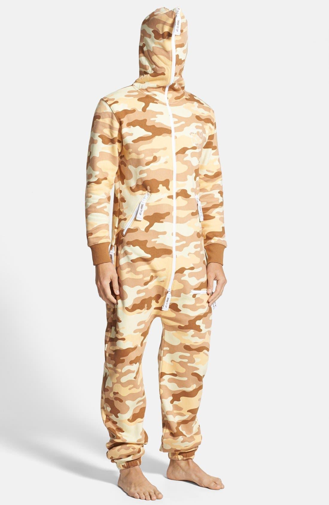 Alternate Image 4  - ZOOOP iT UP™ Camo Desert Zip Hoodie Jumpsuit
