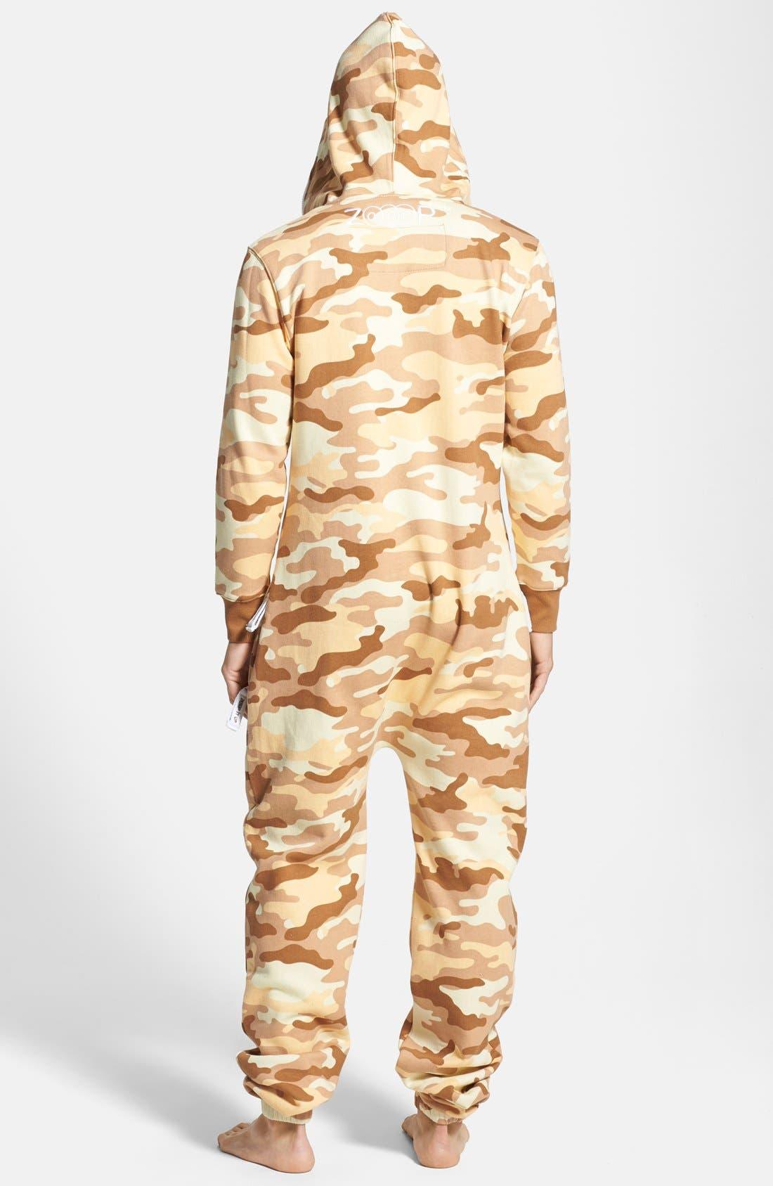Alternate Image 2  - ZOOOP iT UP™ Camo Desert Zip Hoodie Jumpsuit