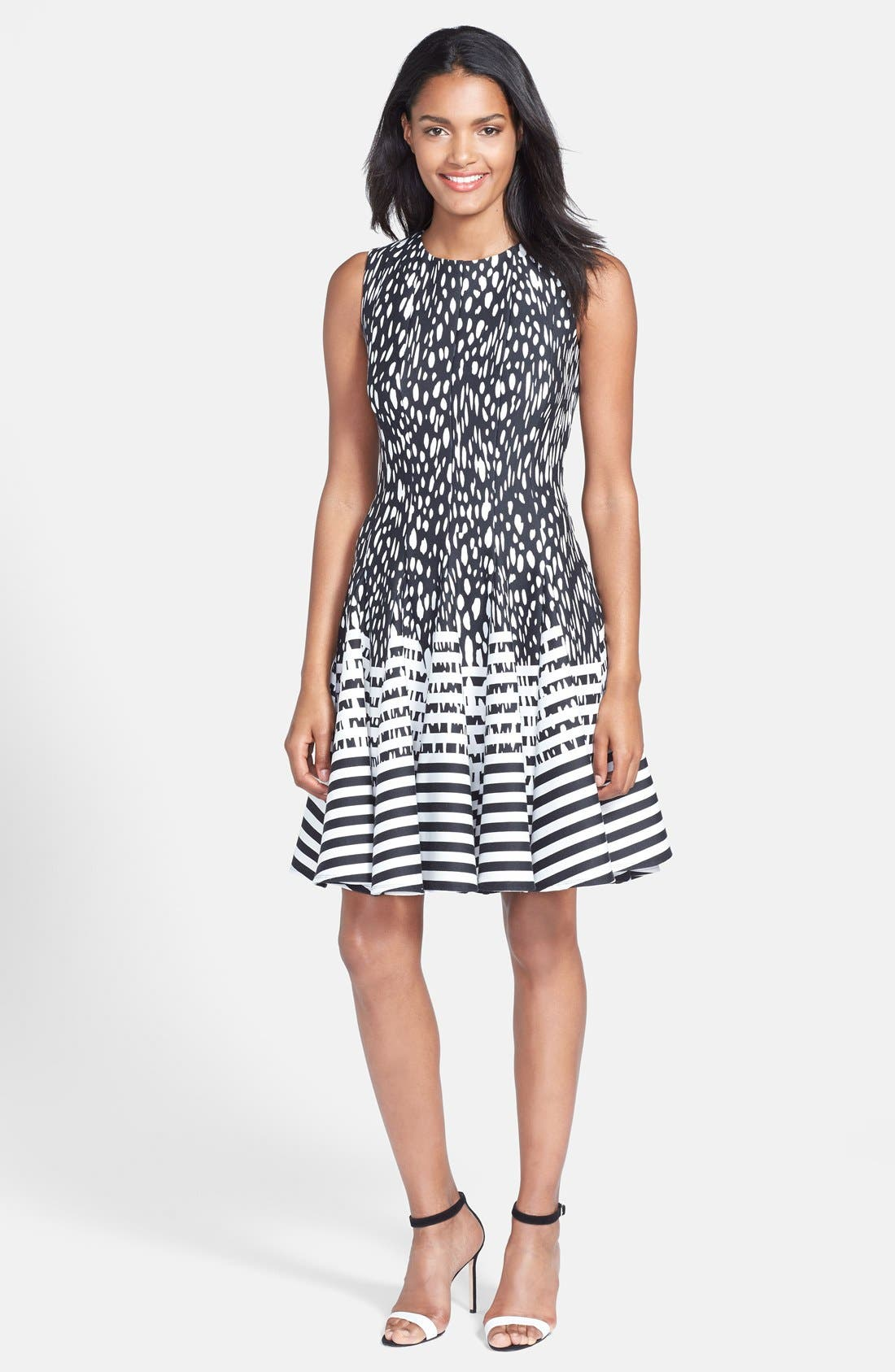 Alternate Image 3  - Eliza J Mixed Print Ponte Fit & Flare Dress (Regular & Petite)