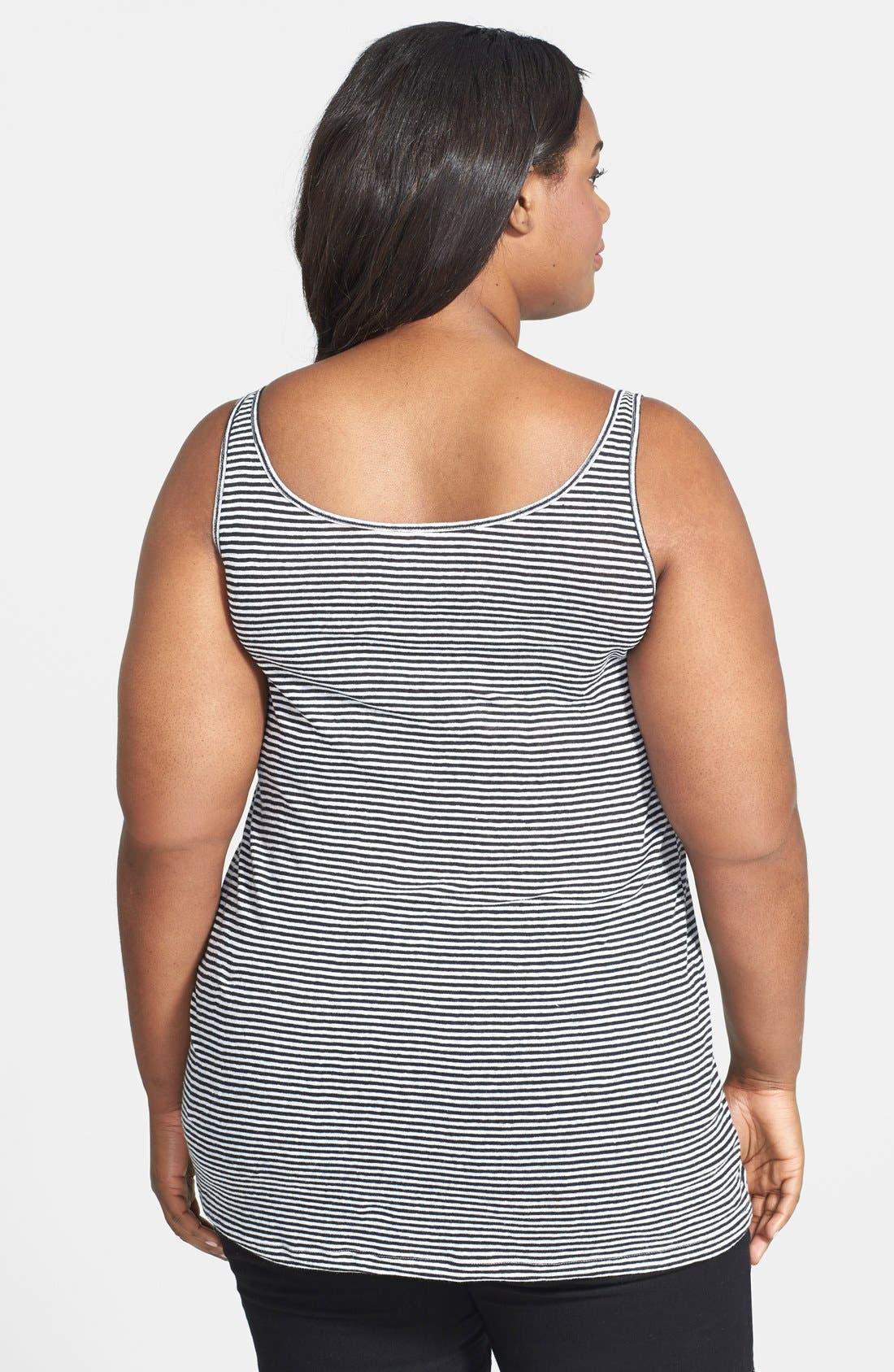 Alternate Image 2  - Eileen Fisher Stripe Organic Linen Long Tank (Plus Size)