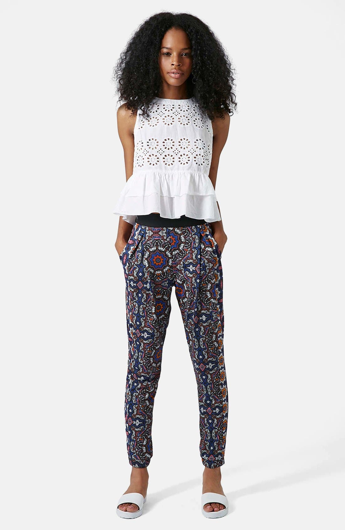 Alternate Image 5  - Topshop Kaleidoscope Print Tapered Pants