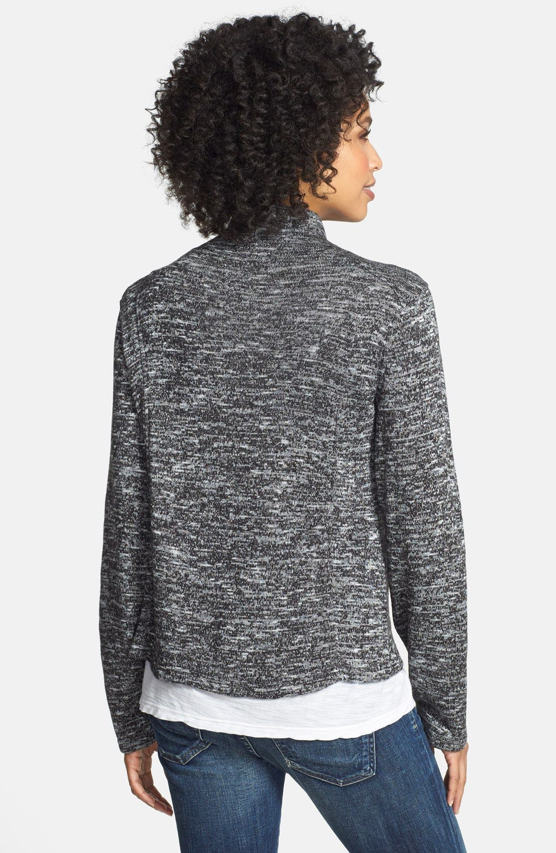 Alternate Image 2  - Two by Vince Camuto Asymmetrical Zip Mélange Knit Cardigan