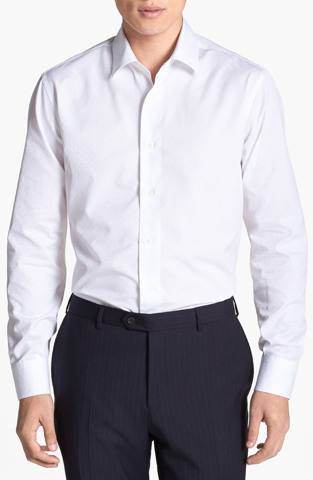 Alternate Image 1 Selected - Salvatore Ferragamo Dobby Trim Fit Sport Shirt