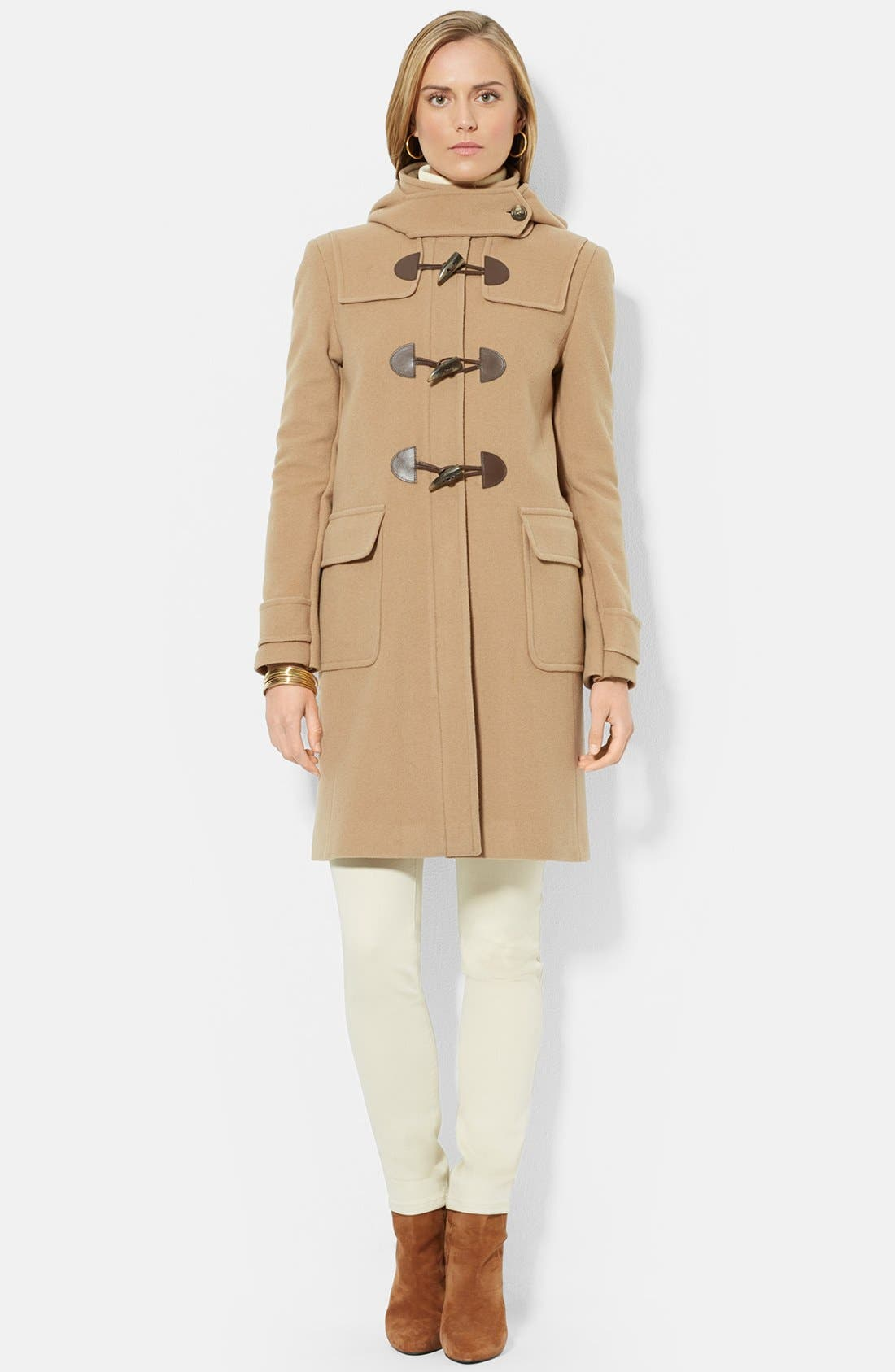 Stand Collar Wool Blend Duffle Coat,                             Main thumbnail 1, color,                             Laurel Camel
