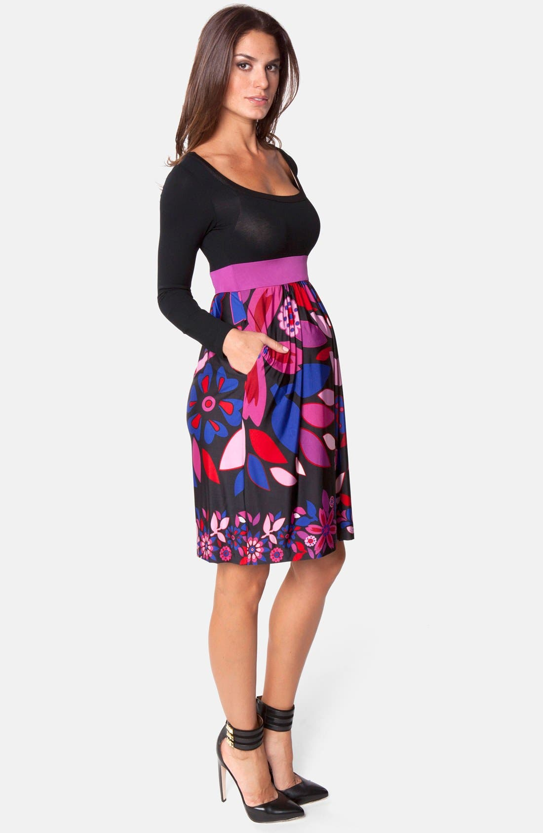 Alternate Image 4  - Olian Floral Print Jersey Maternity Dress