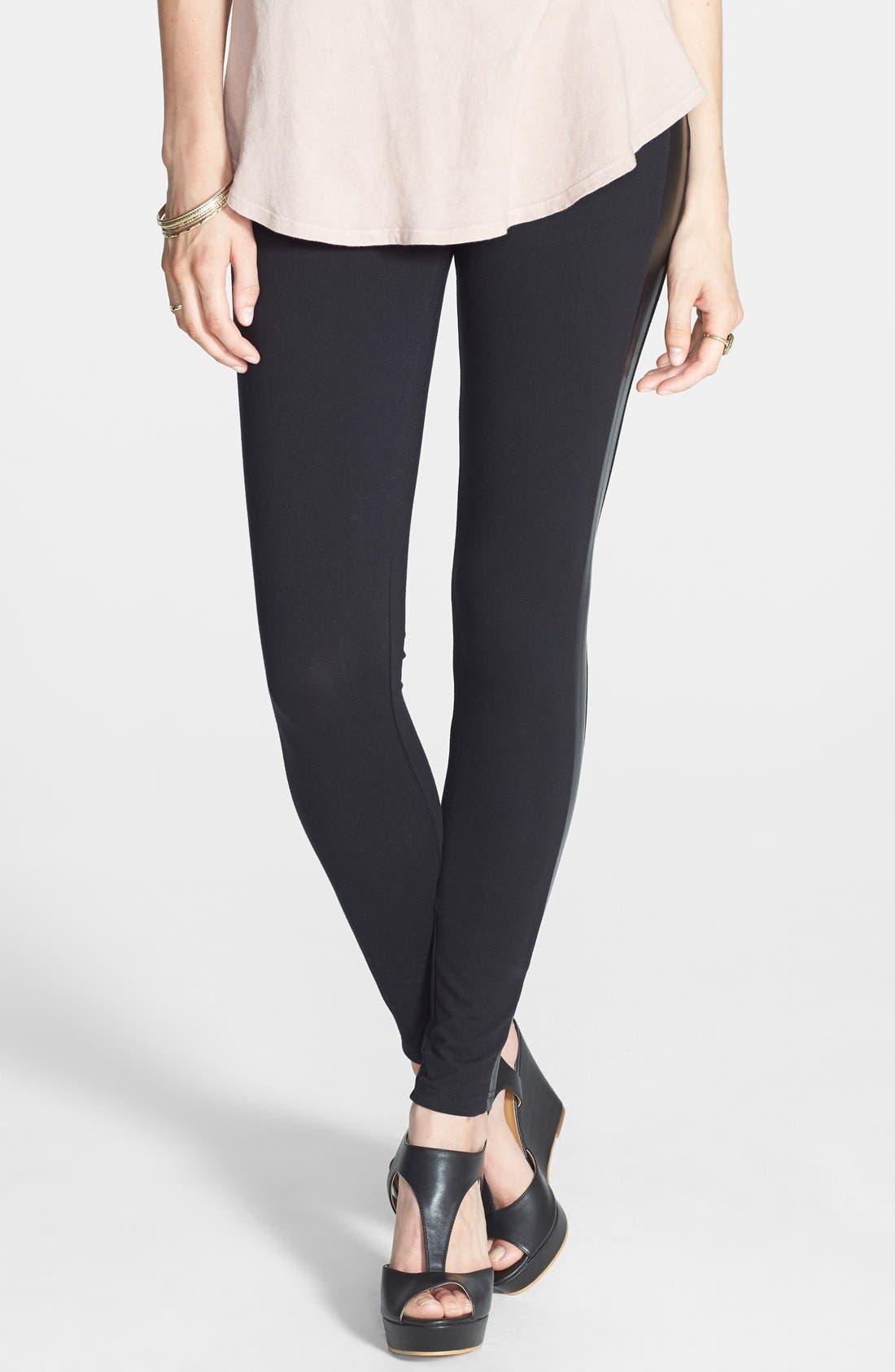 Main Image - BP. Faux Leather Stripe Leggings (Juniors)