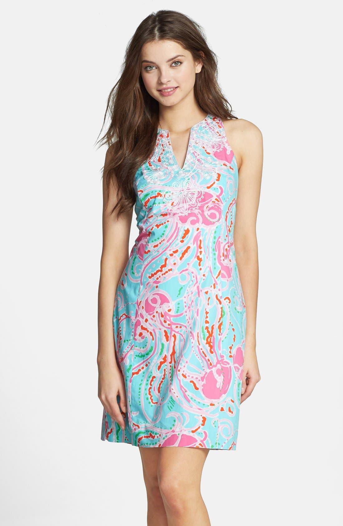 Main Image - Lilly Pulitzer® 'Gabby' Embellished Print Cotton Shift Dress