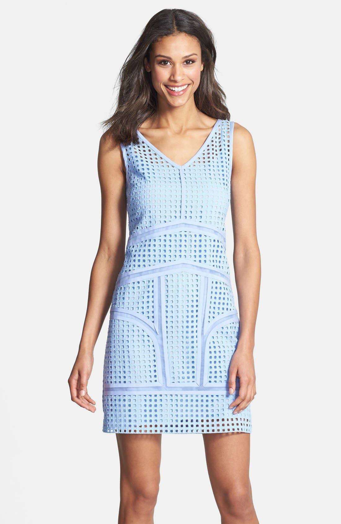 Main Image - Ivy & Blu Inset Organza Trim Cotton Eyelet Shift Dress