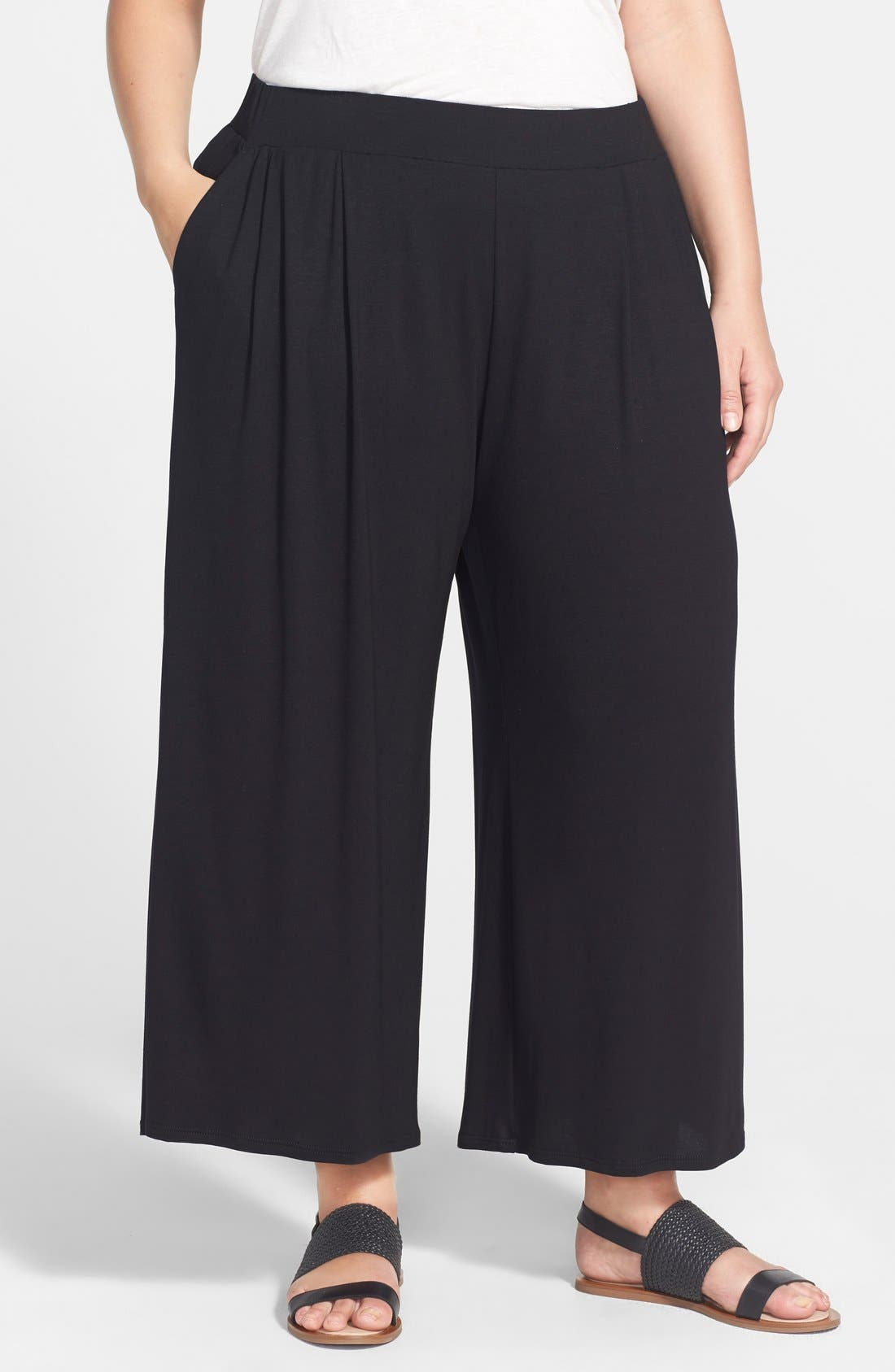 Alternate Image 1 Selected - Eileen Fisher Wide Leg Jersey Pants (Plus Size)
