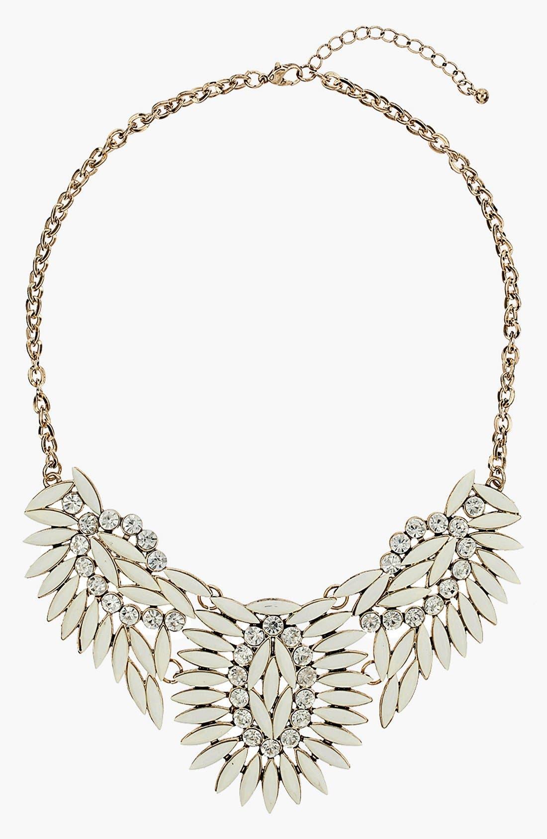 Cream Stone Collar Necklace,                         Main,                         color, Cream