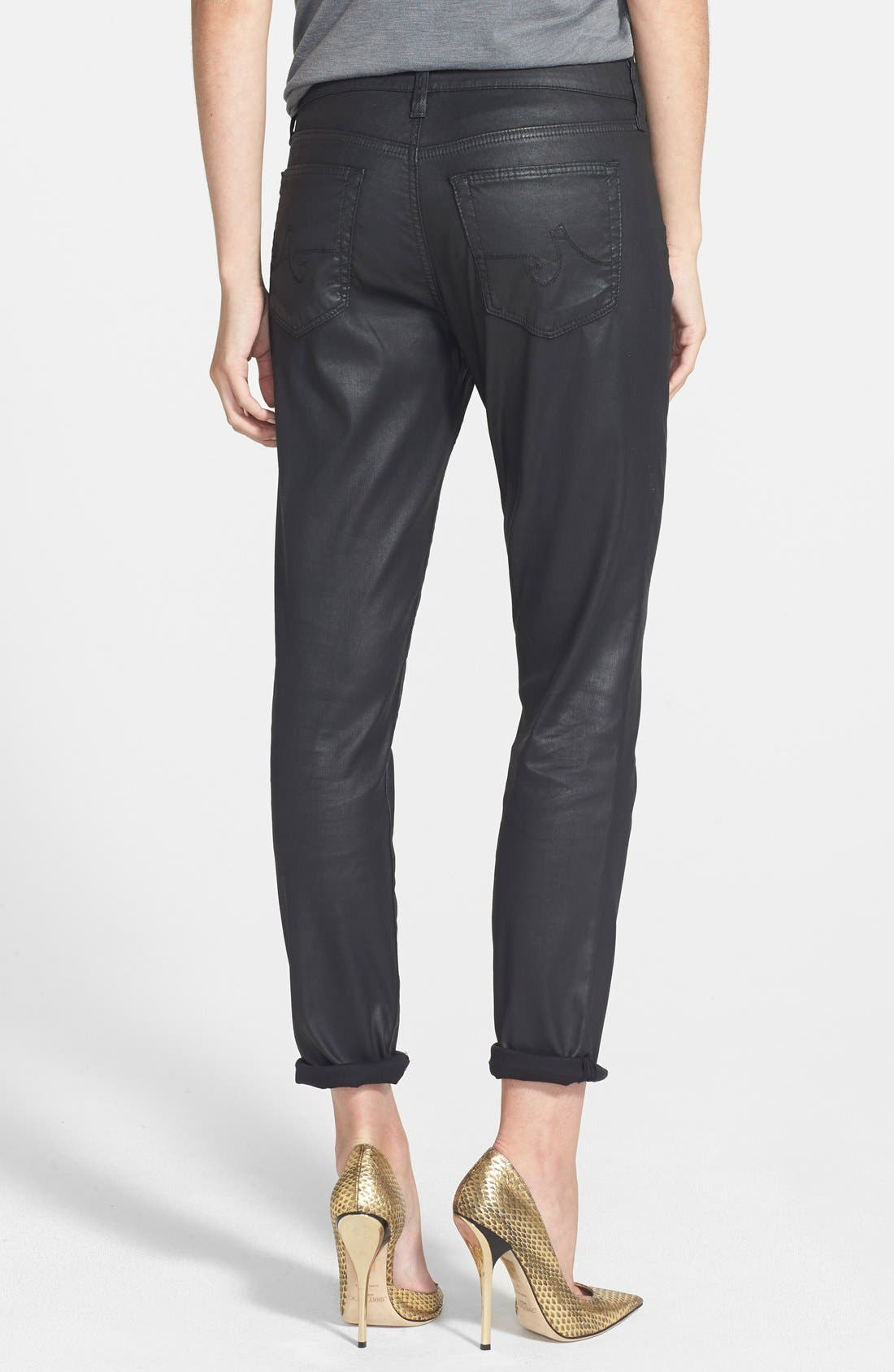 Alternate Image 2  - AG 'Leatherette Beau' Coated Boyfriend Skinny Jeans (Leatherette Black)