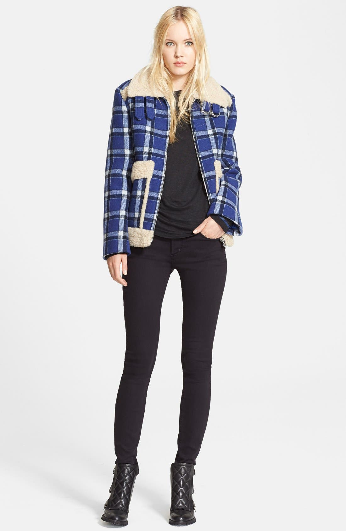 Alternate Image 4  - MARC BY MARC JACOBS Faux Fur Trim Check Wool Jacket