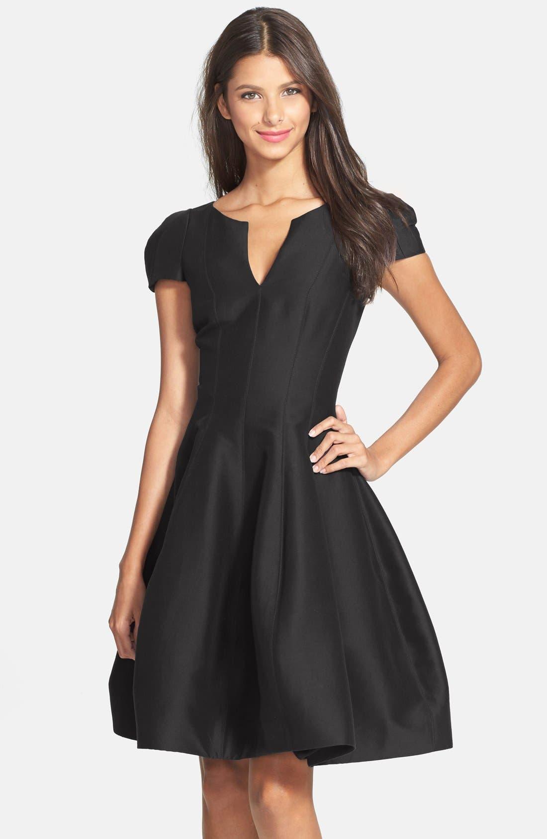 Alternate Image 1 Selected - Halston Heritage Cotton & Silk Fit & Flare Dress