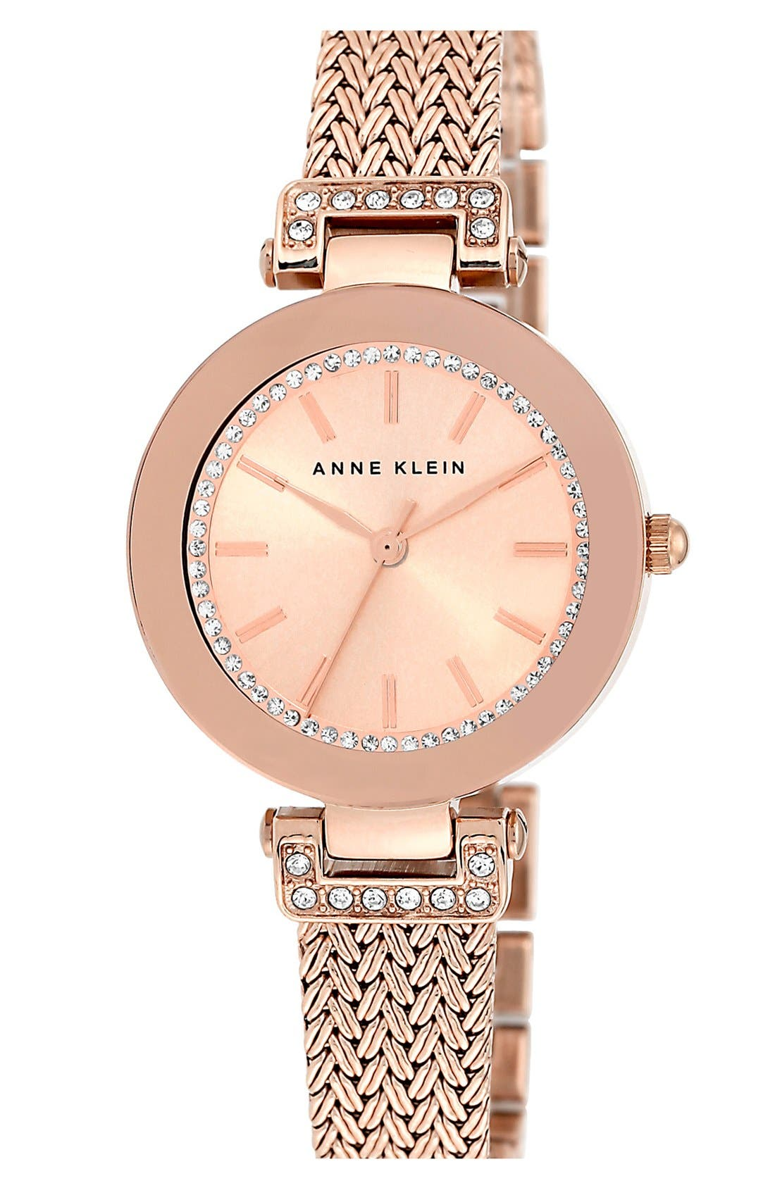 Alternate Image 1 Selected - Anne Klein Crystal Accent Mesh Strap Watch, 30mm
