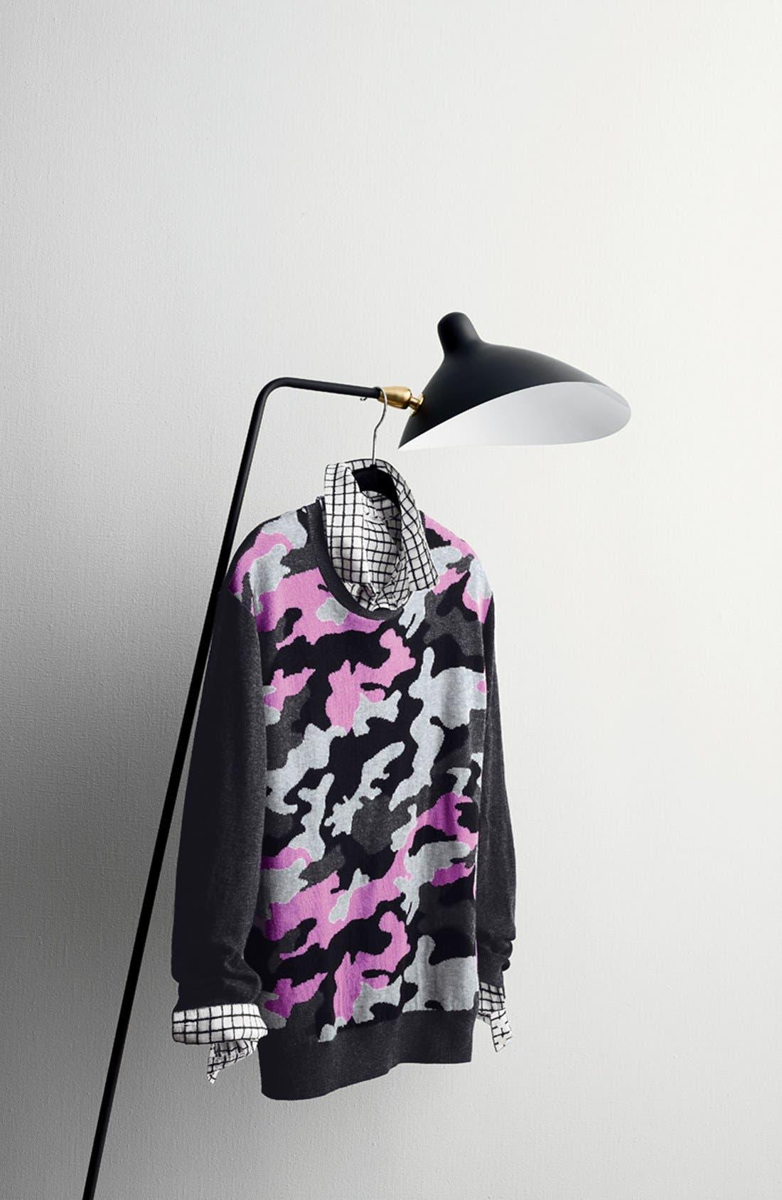 Alternate Image 9  - Halogen® Print Cotton & Silk Shirt (Regular & Petite)