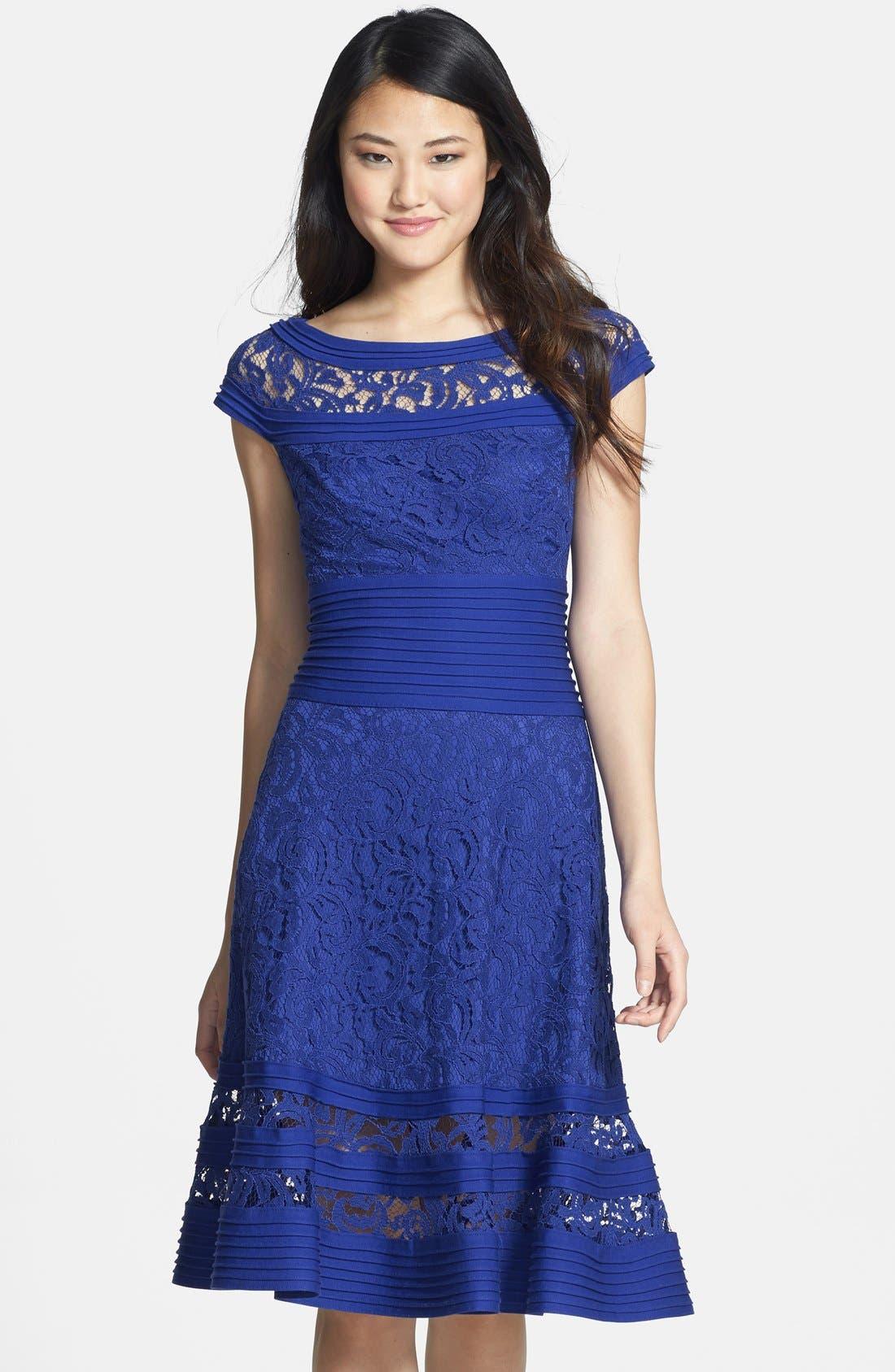 Alternate Image 1 Selected - Tadashi Shoji Cap Sleeve Lace Fit & Flare Dress (Regular & Petite)