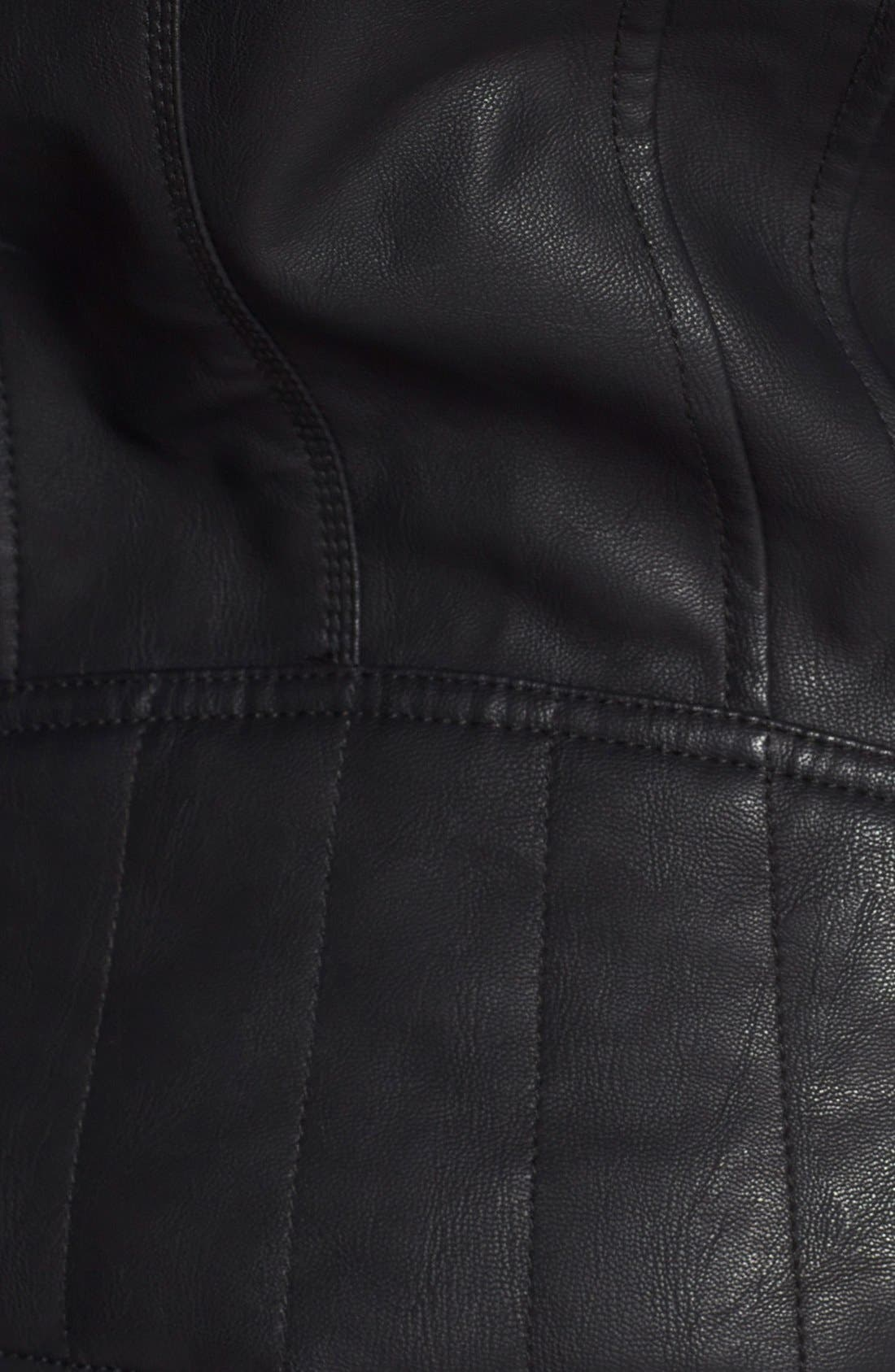 Alternate Image 3  - GUESS Faux Leather Moto Jacket with Cable Knit Hooded Bib Inset (Online Only)